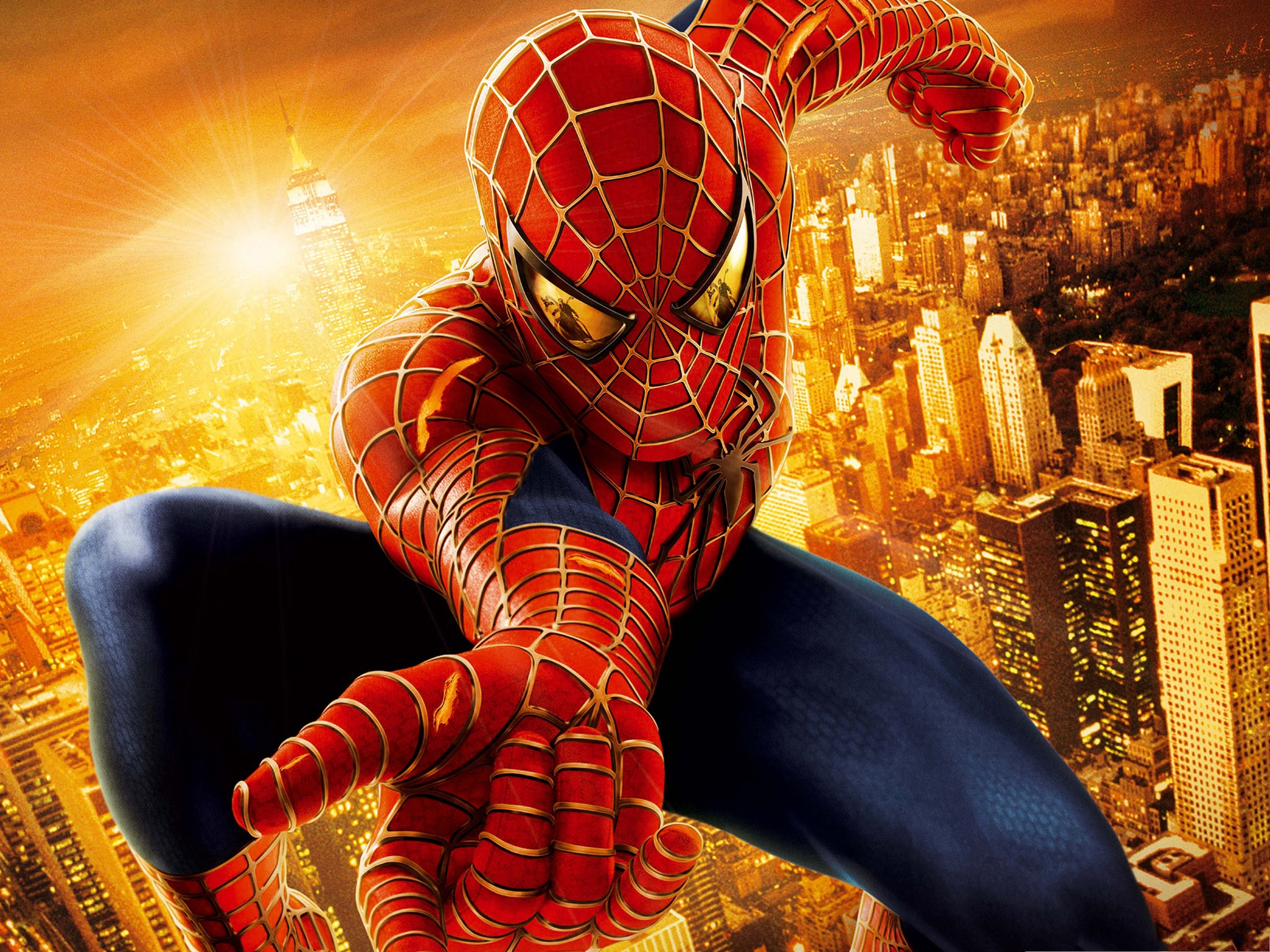 click to free download the wallpaper--2013 3D Movies, Spider Man Presenting His Golden and Prosperous City 2048X1536 free wallpaper download