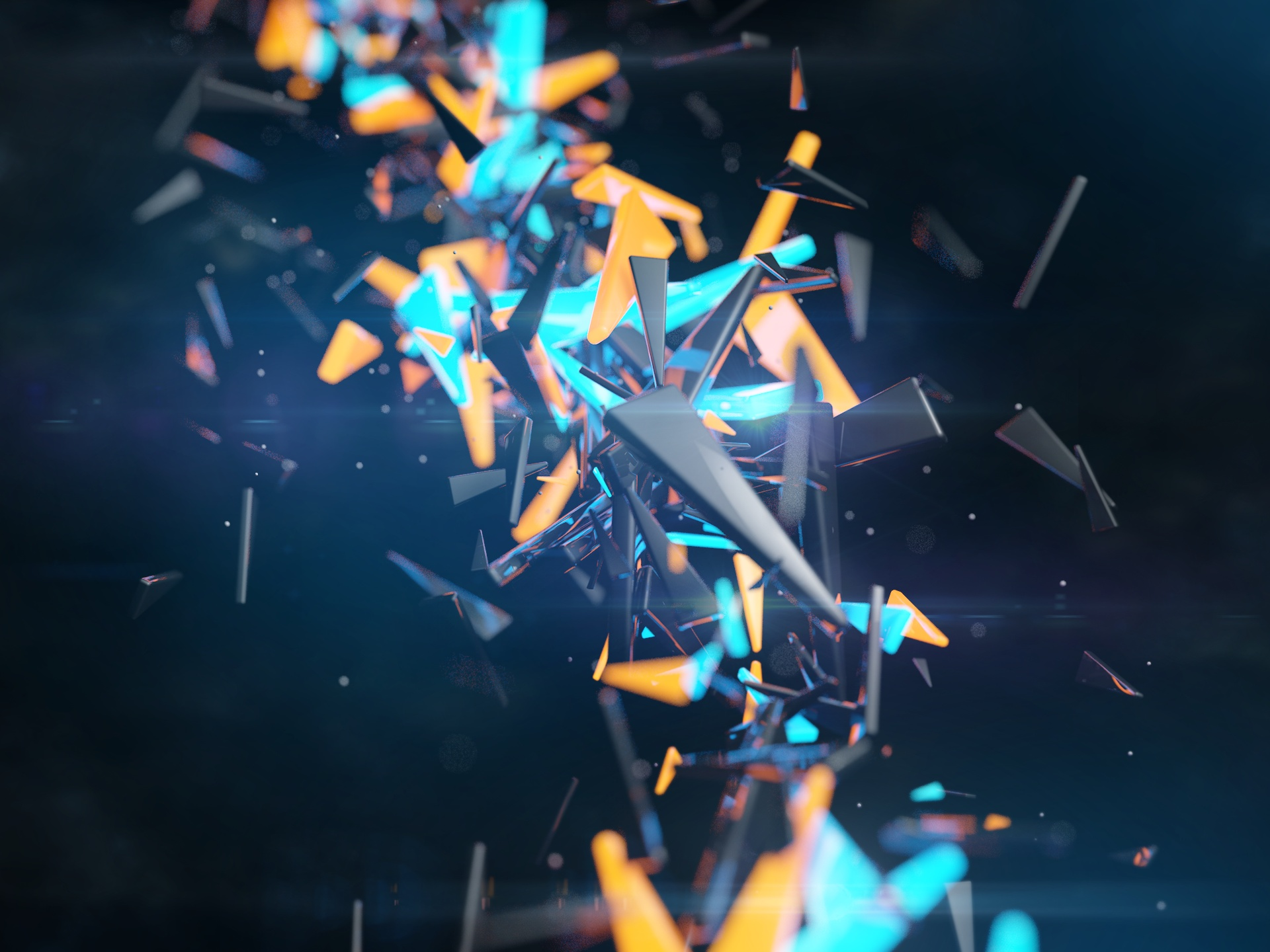 3D Abstract Background, the Flying Pieces on Black Background, is Impressive and Fit 1920X1440 free wallpaper download