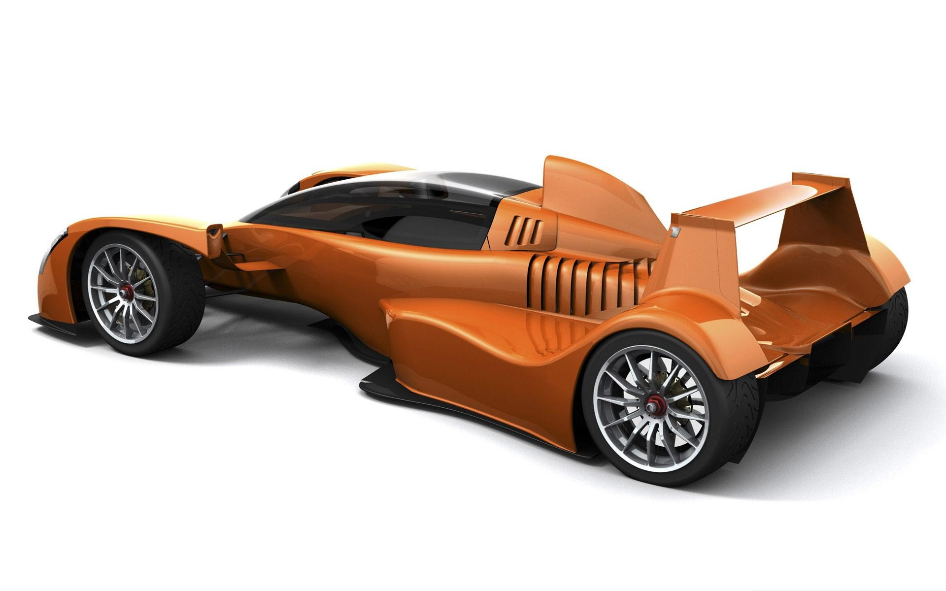 click to free download the wallpaper--3D Car as Background, Orange Car on White Background, Nice Look 1920X1200 free wallpaper download