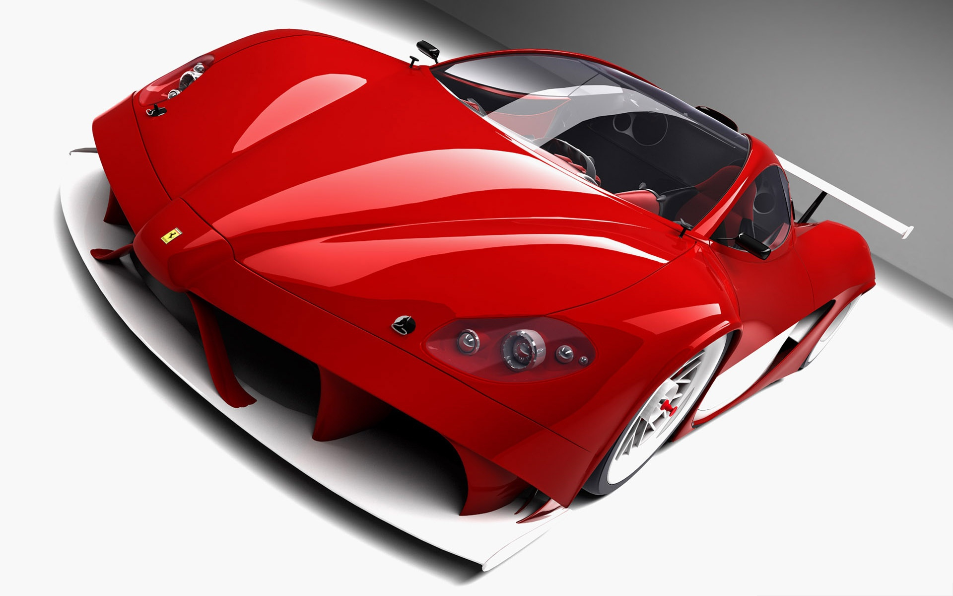 click to free download the wallpaper--3D Ferrari Aurea Car, Red Car in the Stop, Put Against White Background 1920X1200 free wallpaper download