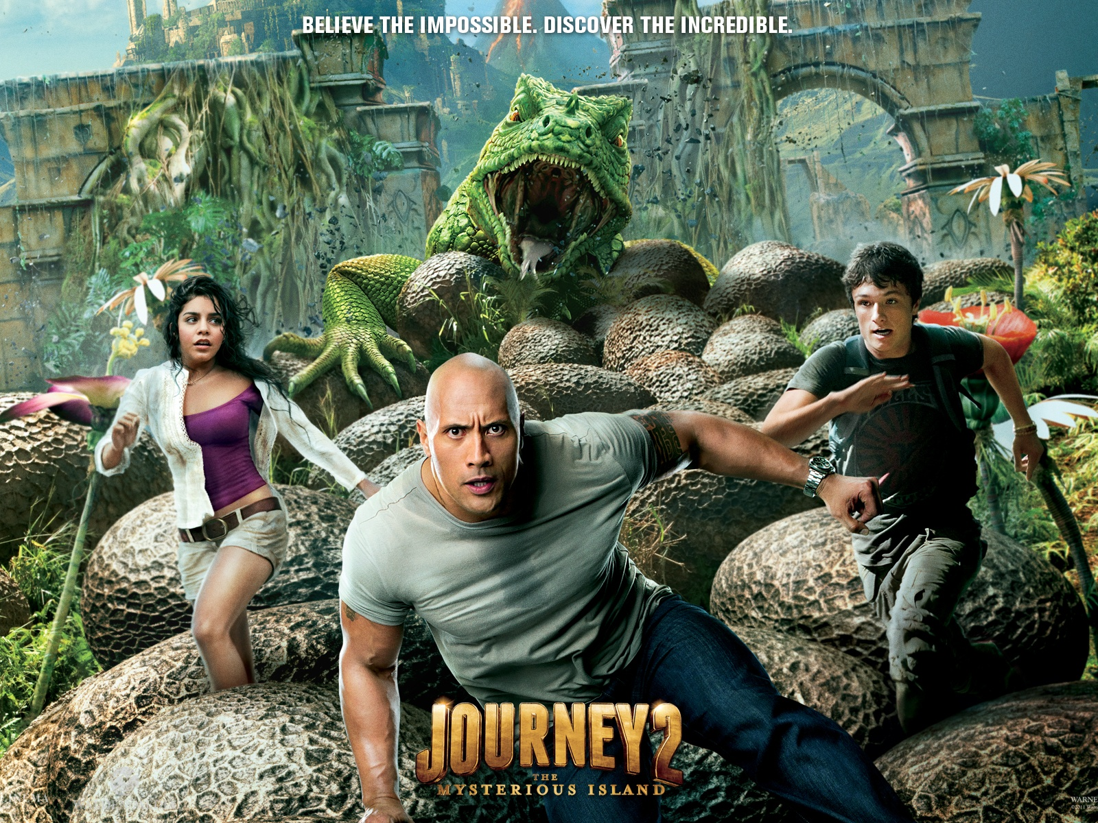 click to free download the wallpaper--3D Movie Posters, Journey 2 Cast, a Green Monster Right Behind, Be Faster
