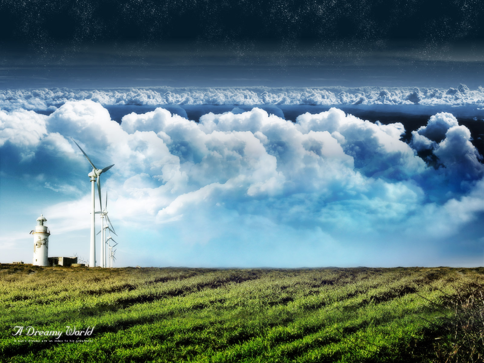 3D Scenery Post, Green Grass, a Line of Windmills Under the Cloudy Sky, Impressive in Look 1600X1200 free wallpaper download