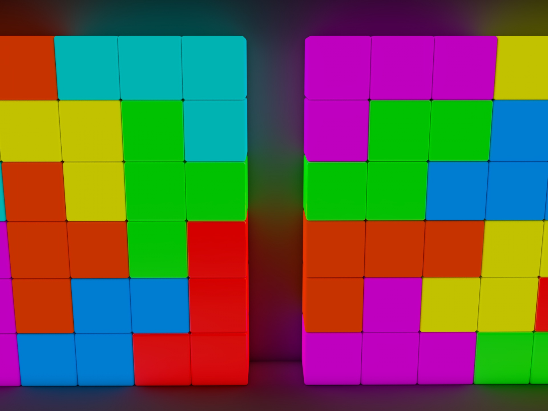 click to free download the wallpaper--3D Tetris Blocks, the Ones in the Same Color Are Put Together, Will They be Dismissed? 1920X1440 free wallpaper download