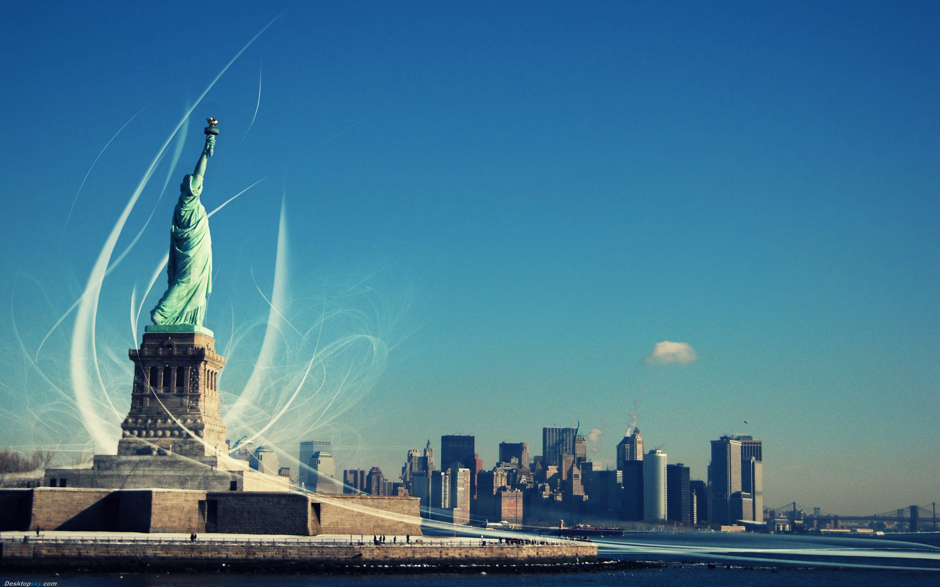 Click To Free Download The Wallpaper A Landmark Building Of NY Statue