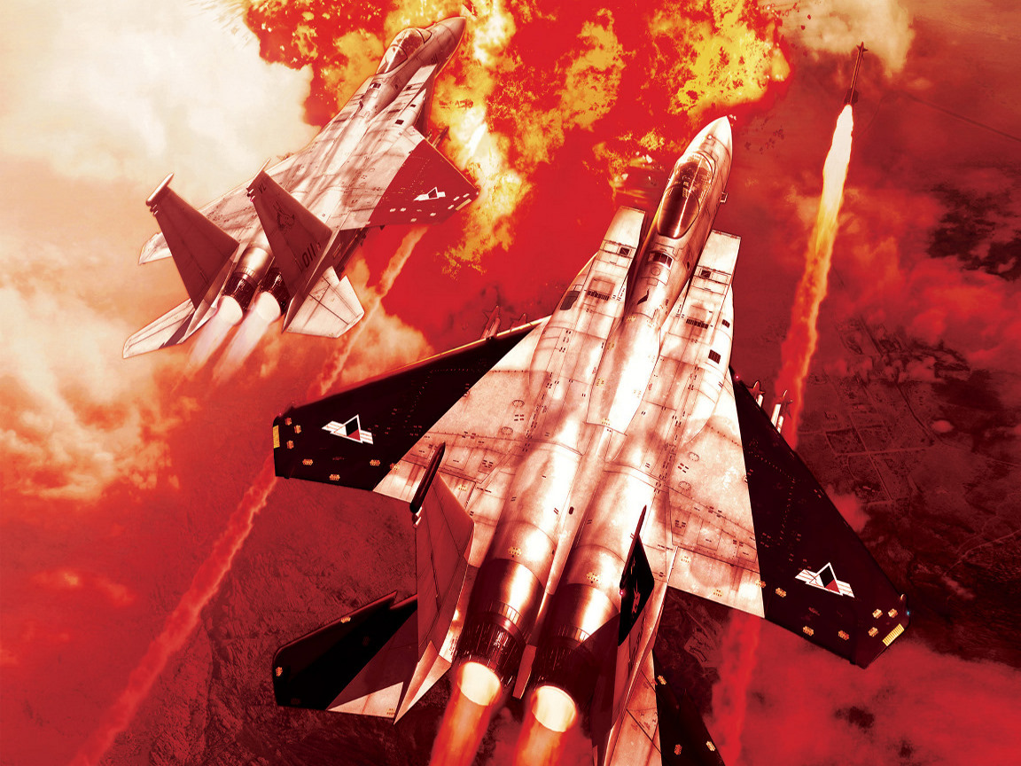 click to free download the wallpaper--Ace Combat Post, Firing Aeroplanes, the Pink to Red Sky, is Absolutely Impressive 1152X864 free wallpaper download