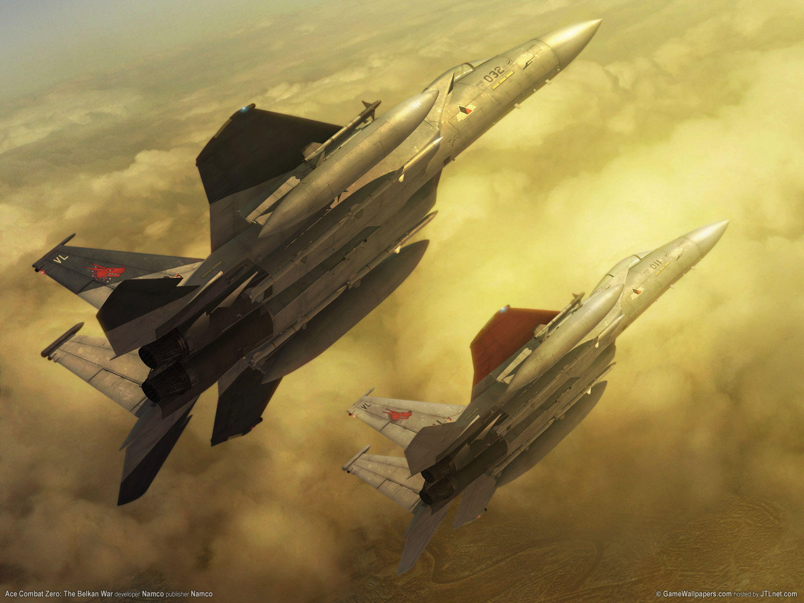 click to free download the wallpaper--Ace Combat Post, Two Aeroplanes Flying Up High, They Must be in Fast Speed  1600X1200 free wallpaper download