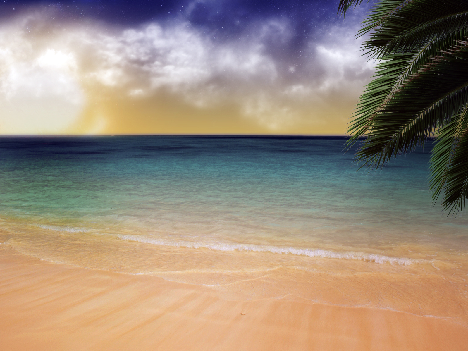 click to free download the wallpaper--Amazing Landscape of the Sea, Ripples Hitting the Beach Repeatedly, the Blue Sky