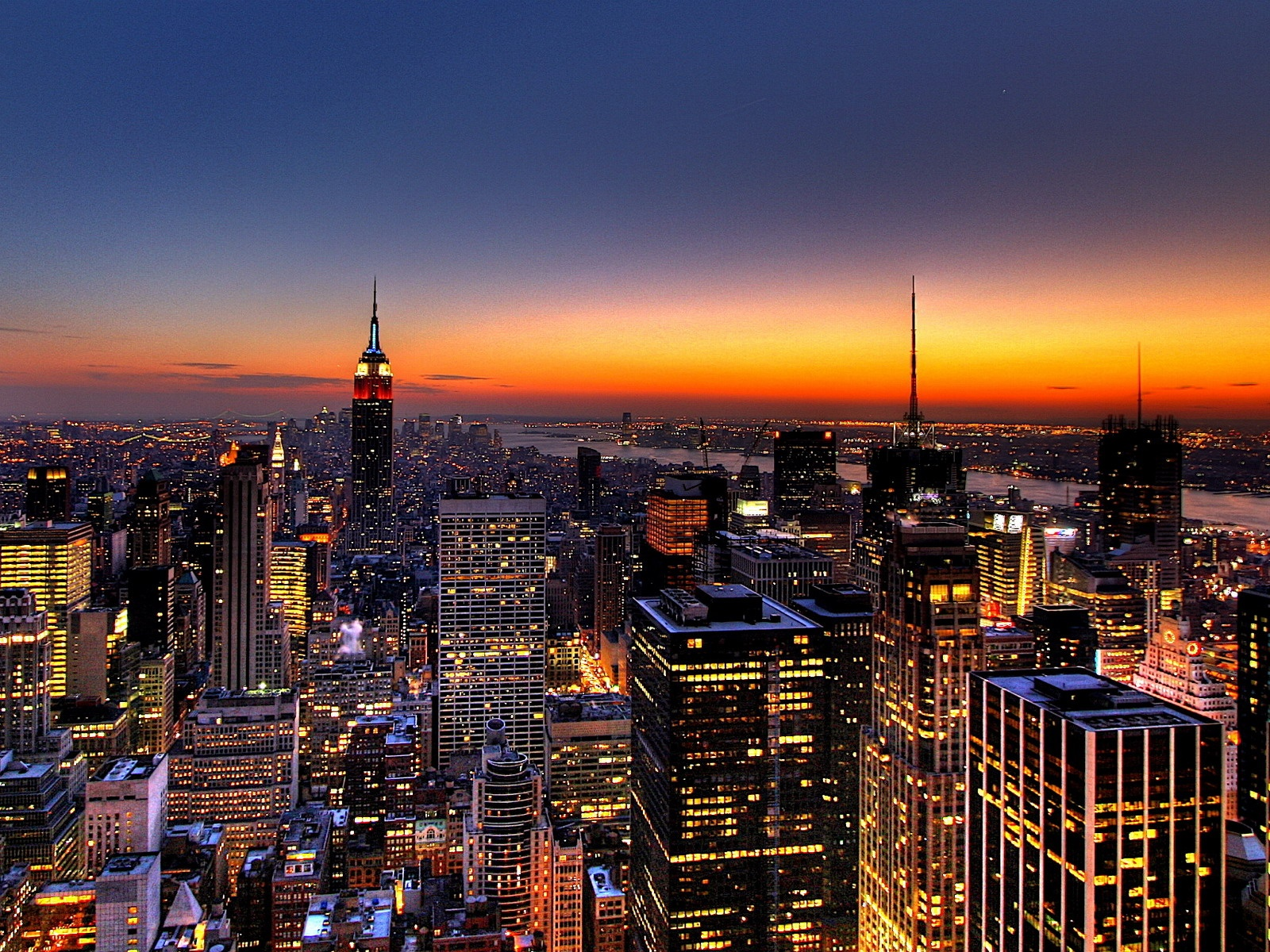 click to free download the wallpaper--Amazing Landscape of the World, NY Skyline, Golden Horizon, Tall Buildings