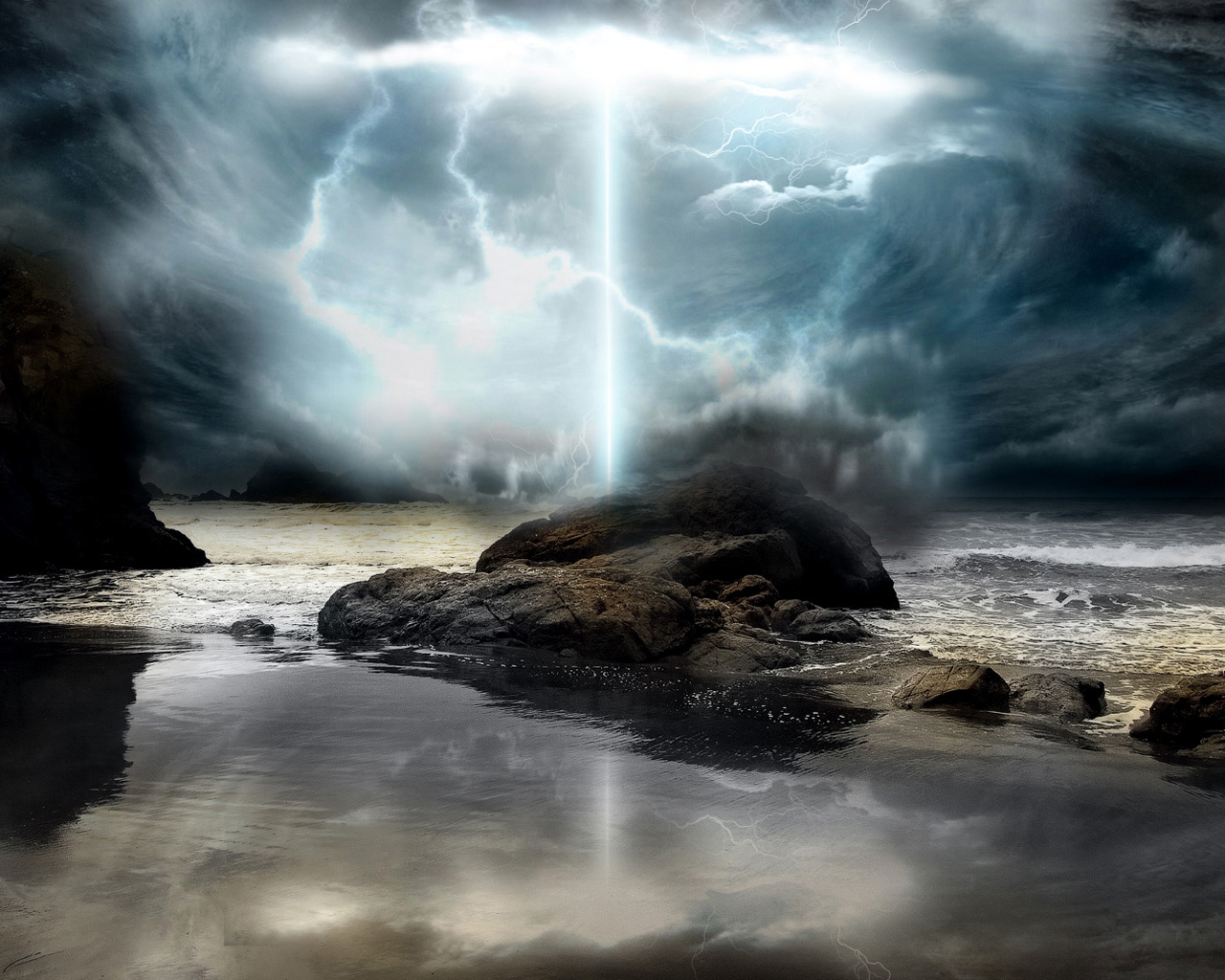 click to free download the wallpaper--Amazing Nature Landscape, Big Rocks and the Sea, Lightning Breaking Out