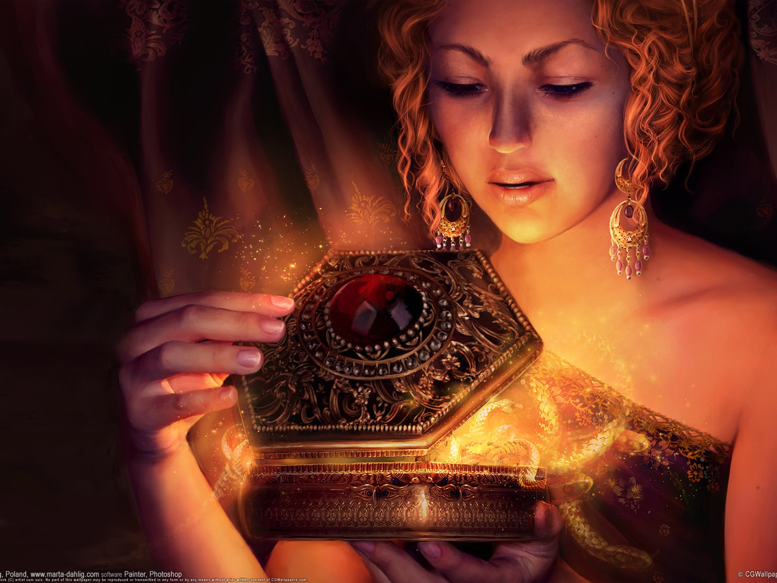 click to free download the wallpaper--Amazing Pic of Beautiful Lady, Pandora Opening the Forbidden Box, Negative Emotions Pouring Out 1600X1200 free wallpaper download