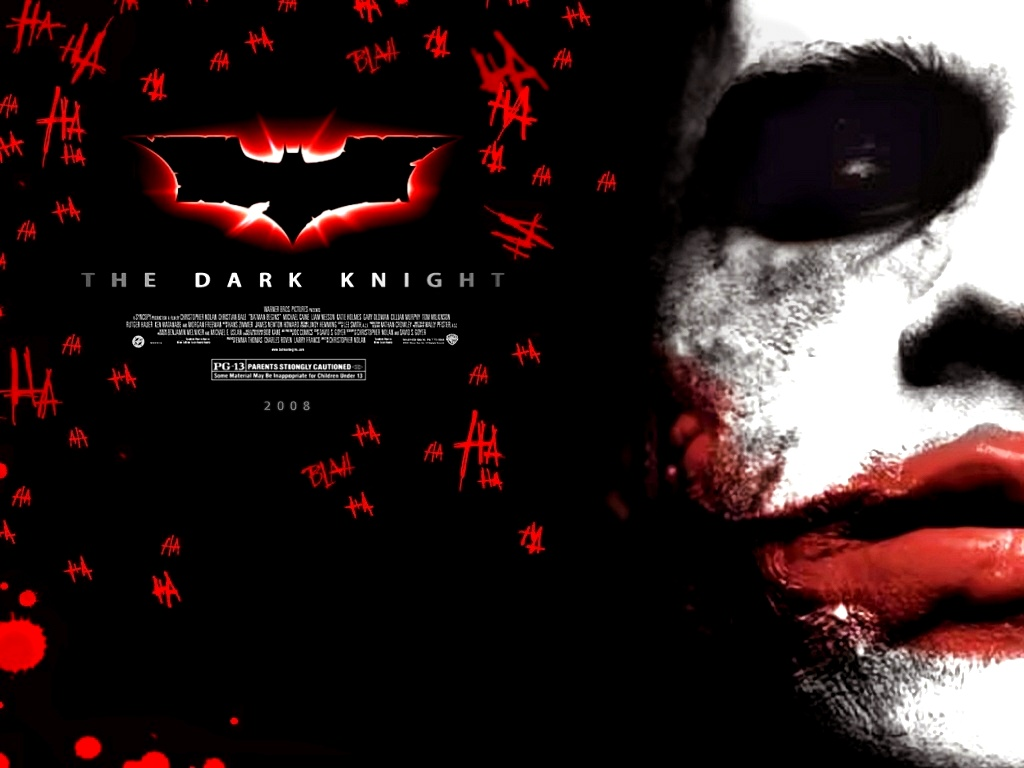 click to free download the wallpaper--Amazing TV & Movies Wallpaper, the Dark Knight, the Joker in Red Lips, He is Bitter and Cruel 1024X768 free wallpaper download