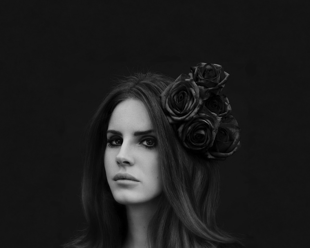 click to free download the wallpaper--Amazing TV Show Images, Beautiful Lana Del Rey Monochrome in Roses, Cool and Beautiful Girl 1280X1024 free wallpaper download