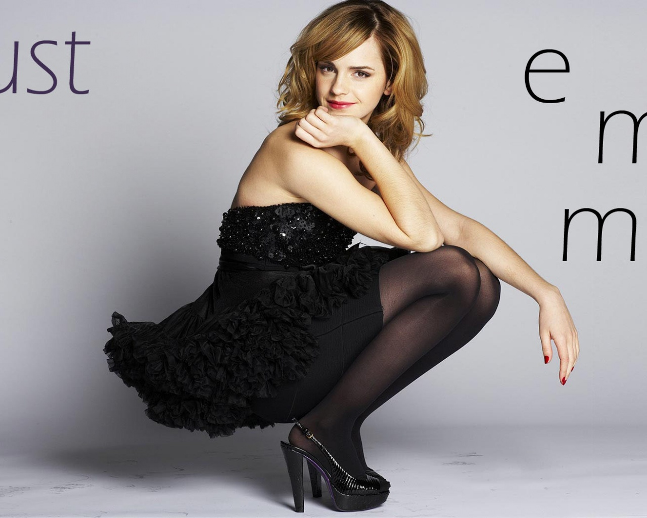click to free download the wallpaper--Amazing TV Show Pics, Emma Watson in Black Dress, High Heeled Shoes, a Graceful Lady 1280X1024 free wallpaper download