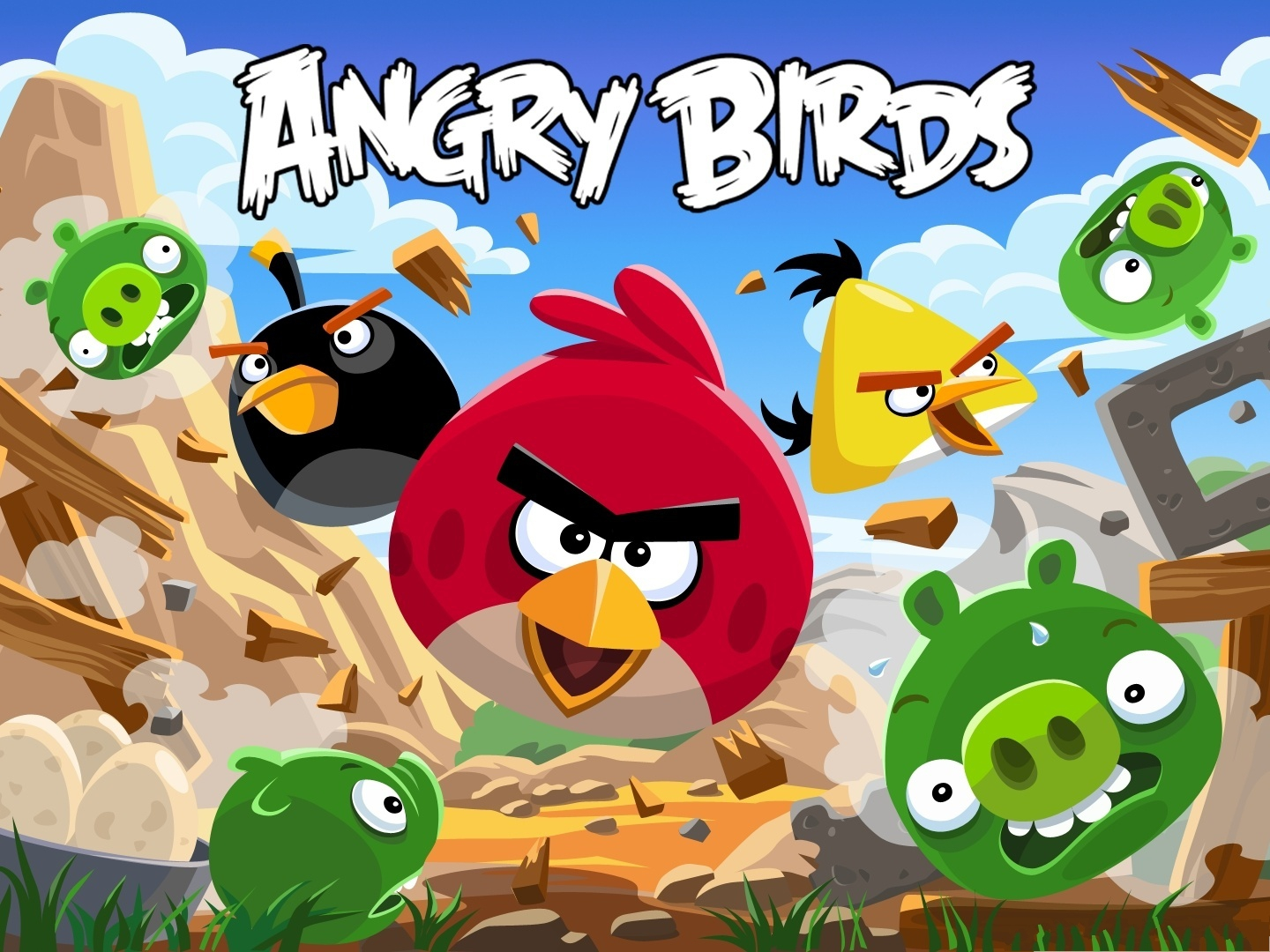 click to free download the wallpaper--Angry Birds Poster, Excited Angry Birds, Scared Pigs in Sweat 1440X1080 free wallpaper download