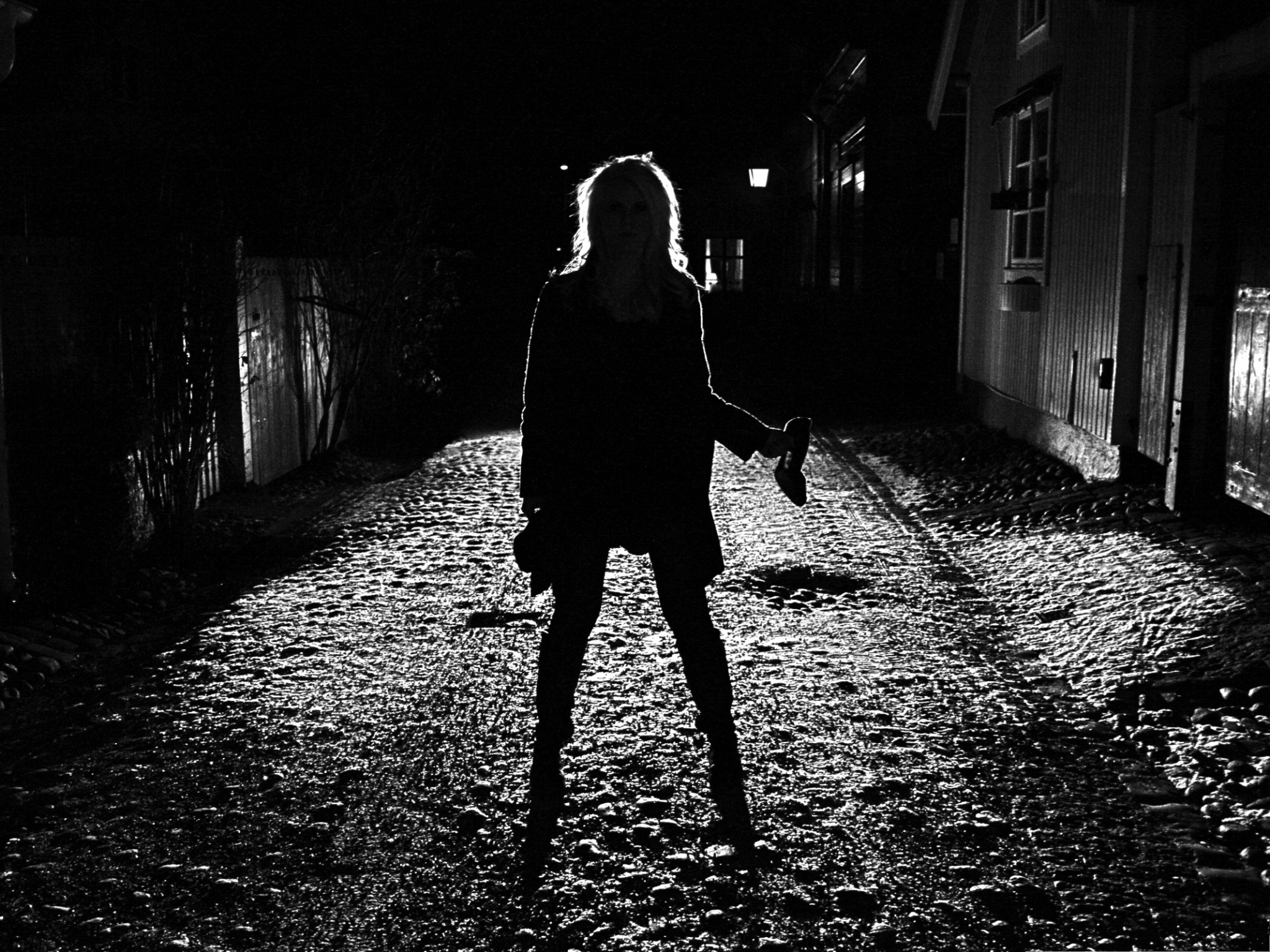 click to free download the wallpaper--Beautiful Girl Silhouette, Cool Girl Standing in Darkness, Shoes Off 2048X1536 free wallpaper download