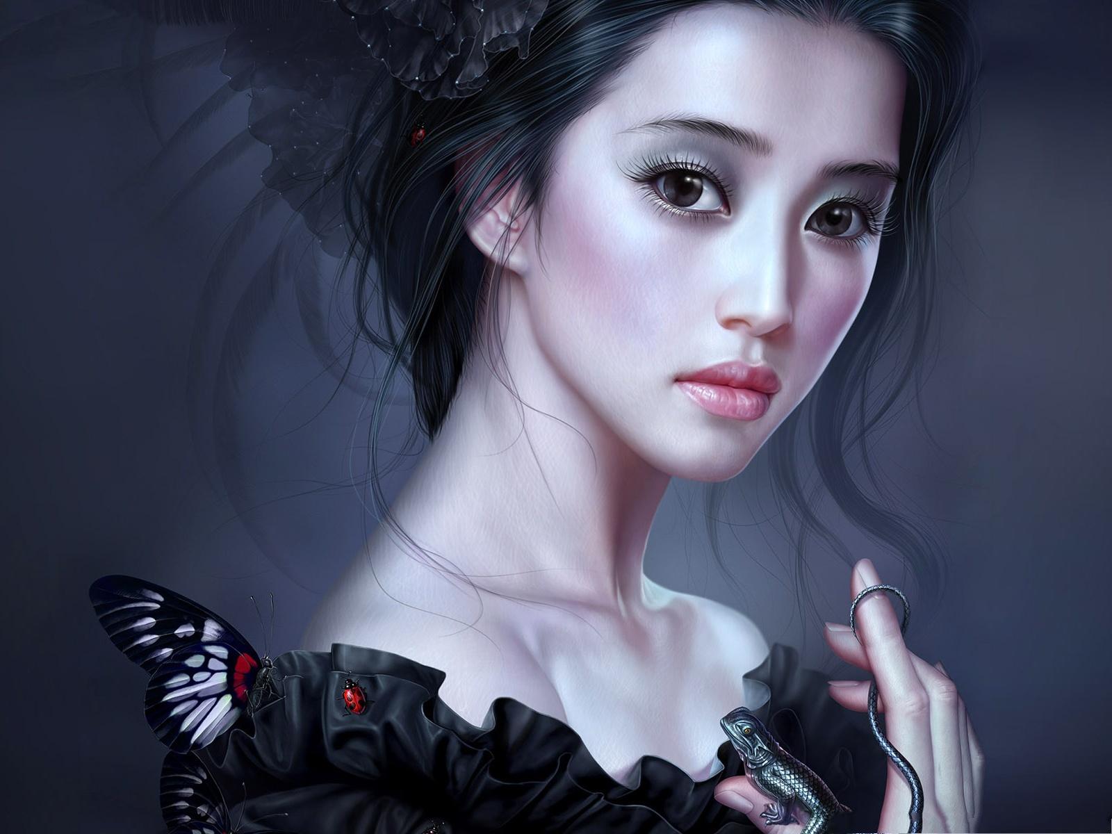 Beautiful Girl Wallpaper Young Girl In Black Painting