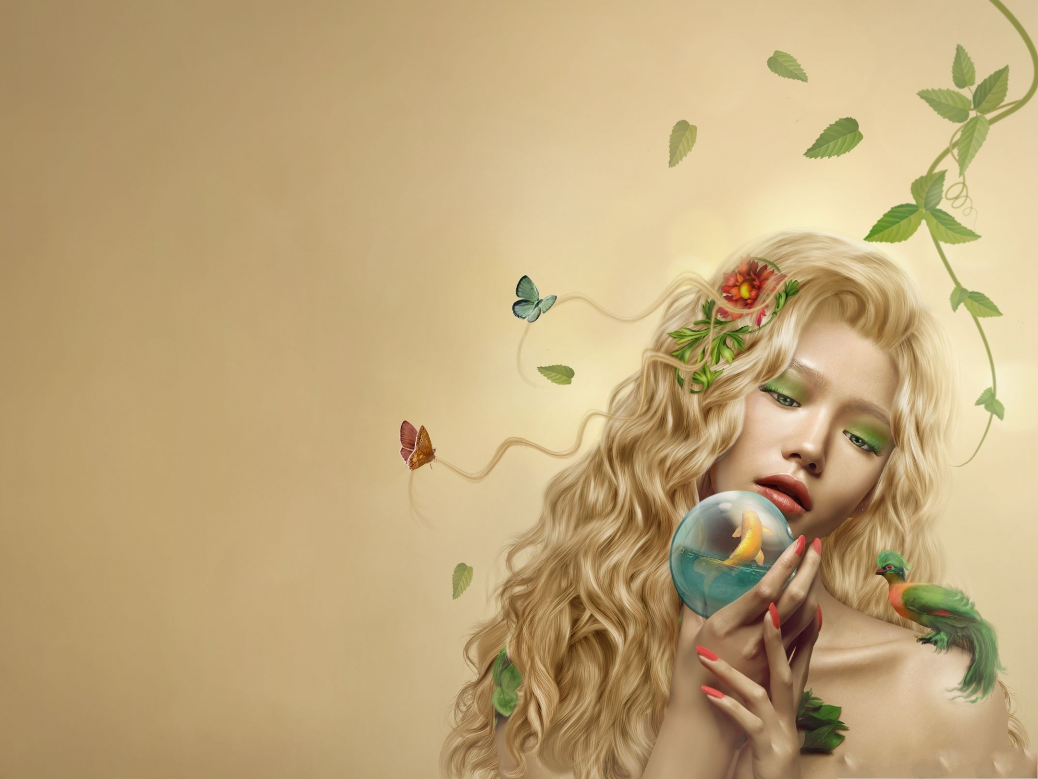 click to free download the wallpaper--Beautiful Girls Image, Dreaming Blonde Girl in Crystal Ball, Beautiful Butterflies 2048X1536 free wallpaper download