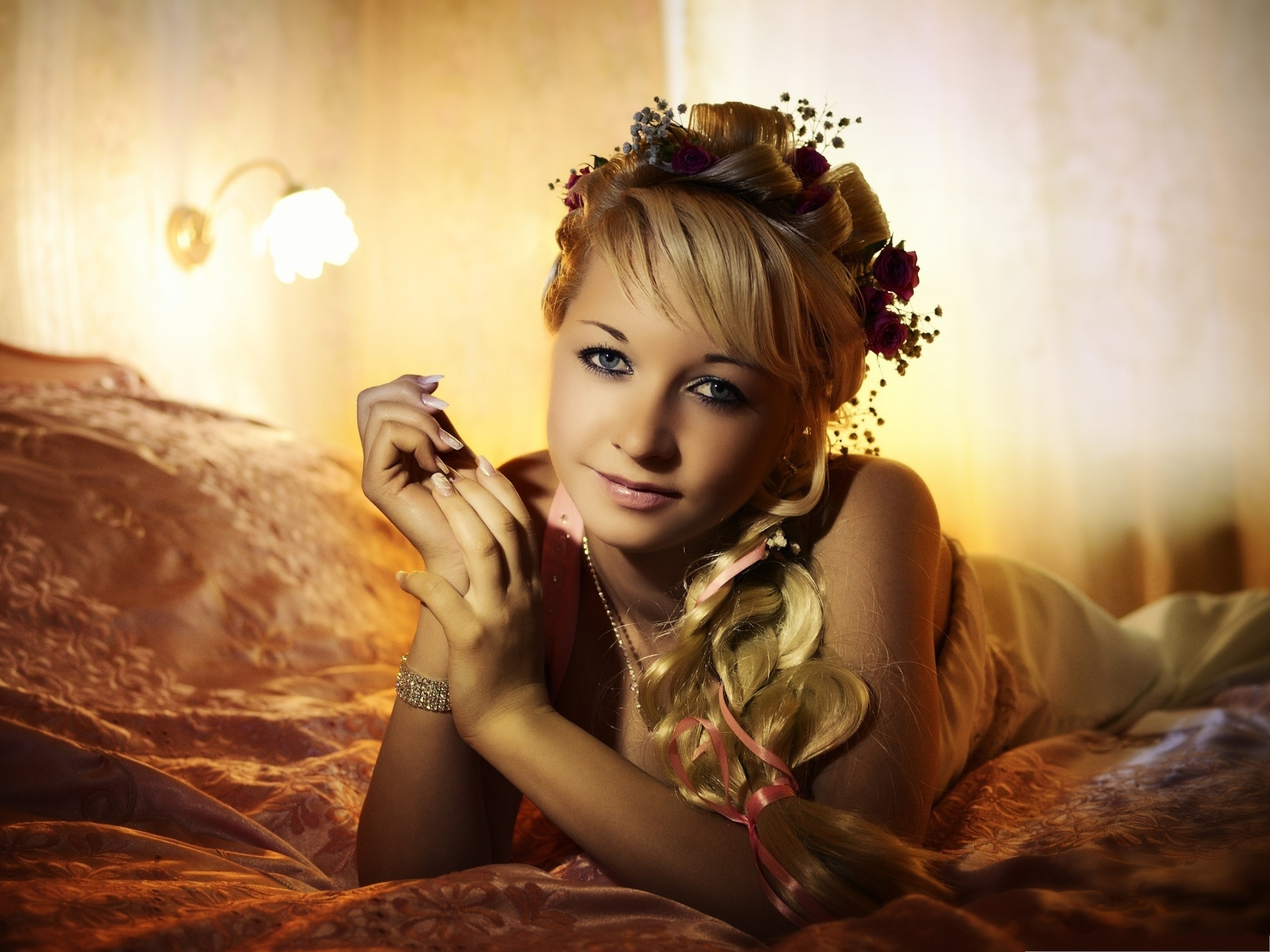 beautiful girls picture blonde girl lying like princess