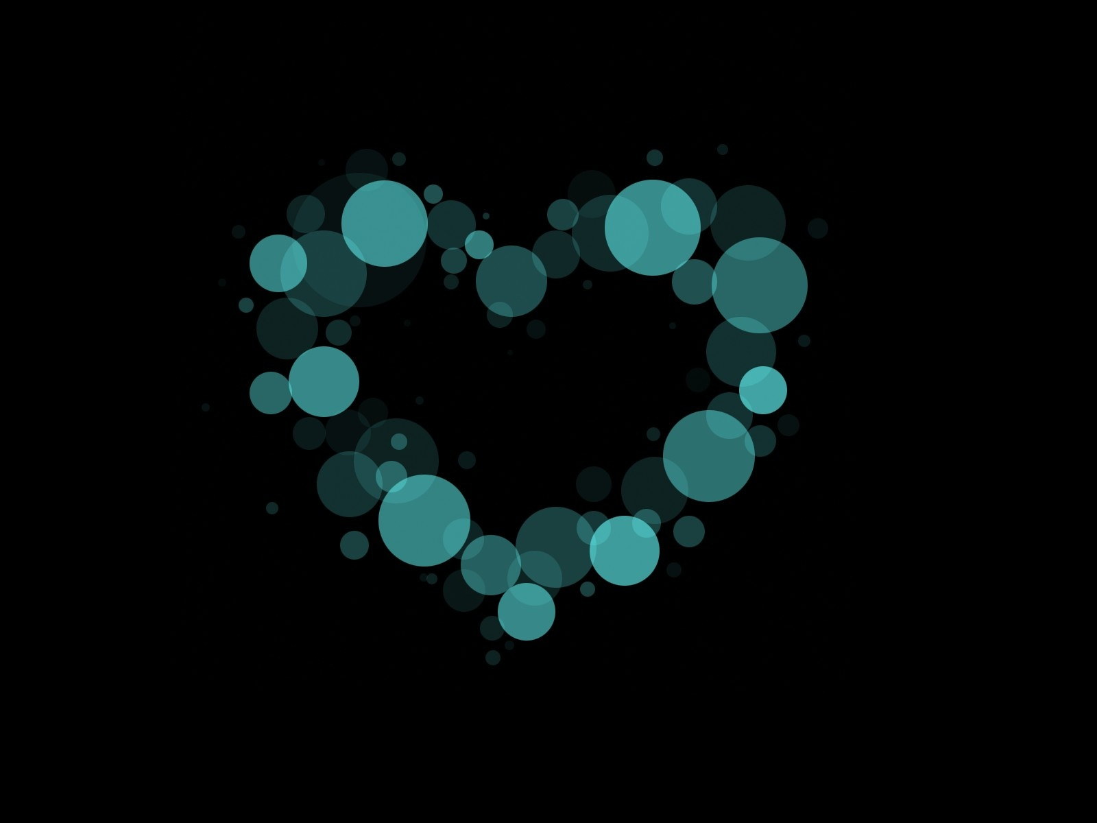 click to free download the wallpaper--Beautiful Images of Heart, Bokeh in Heart Shape, Black Setting, Impressive in Look 1600X1200 free wallpaper download