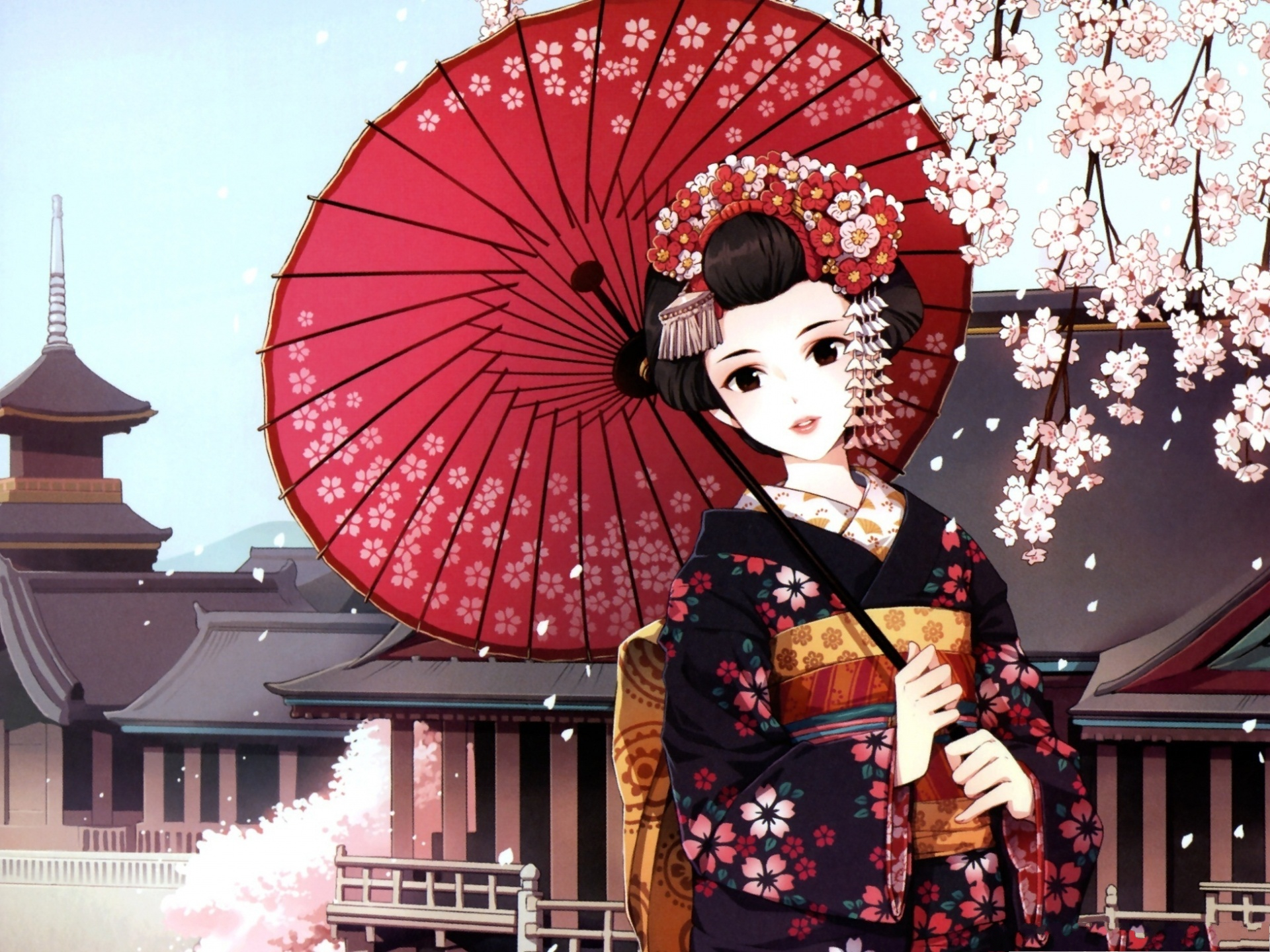 click to free download the wallpaper--Beautiful Japanese Girl, in Kimono and Red Umbrella, Pink Cherries Above 1920X1440 free wallpaper download