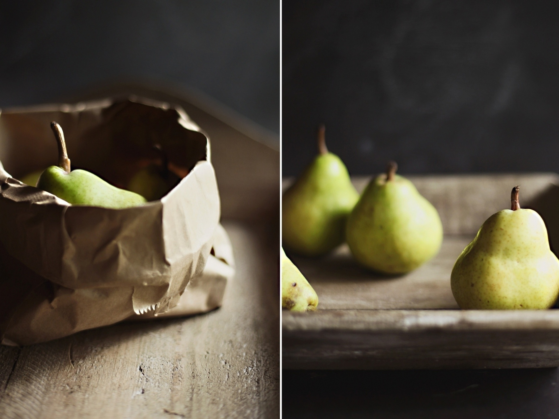click to free download the wallpaper--Beautiful Pics of Nature, Ripe Pears, One Put in Paper, Ready to be Given as Gift 1920X1440 free wallpaper download