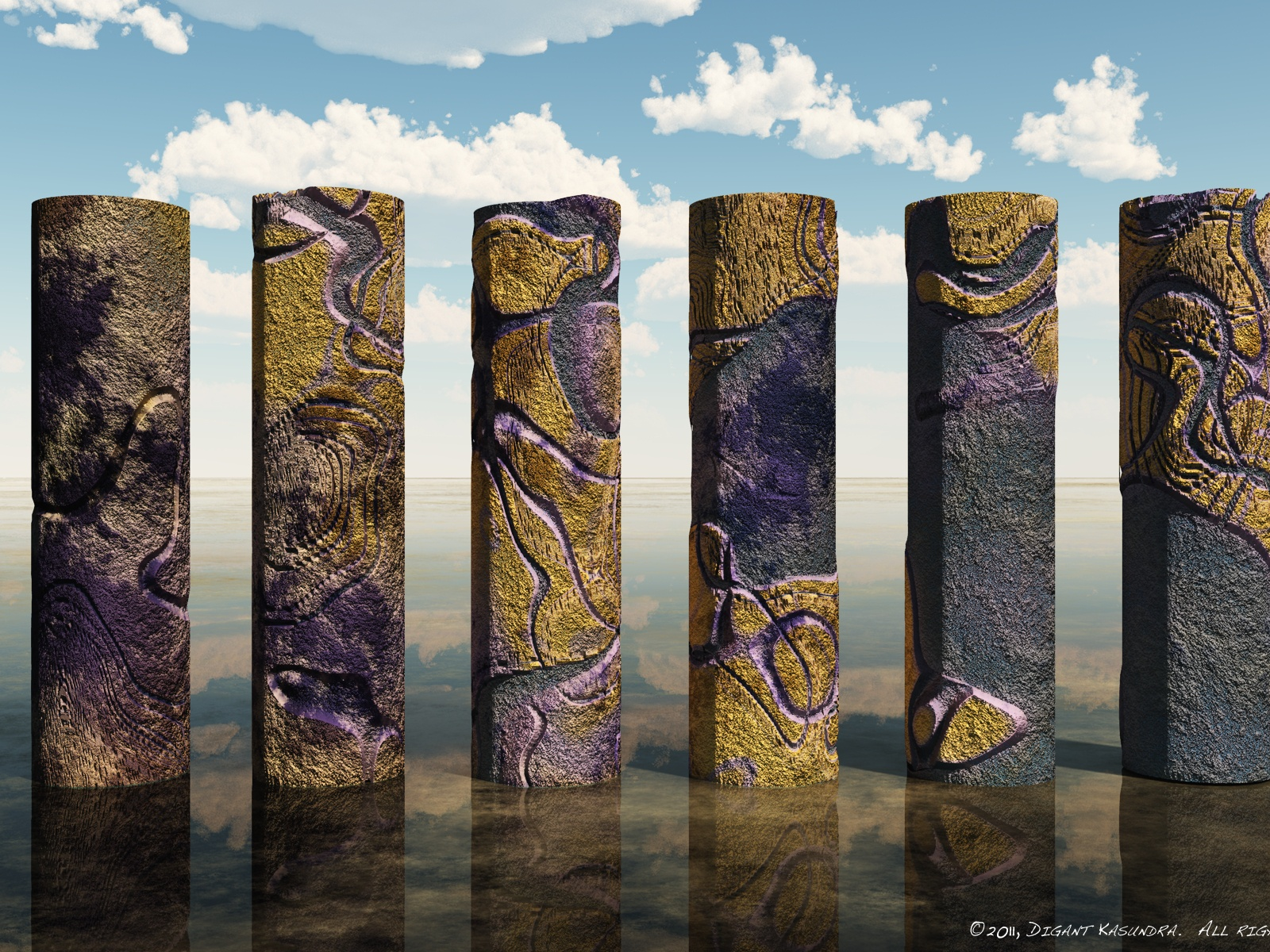 click to free download the wallpaper--Beautiful Scenery Wallpaper, a Line of Colorful Alien Pillars, Majestic Look  1600X1200 free wallpaper download