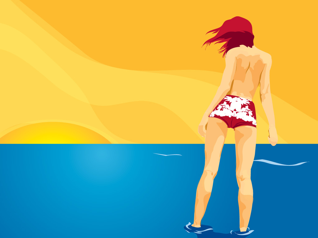click to free download the wallpaper--Beauutiful Lady Wallpaper, a Girl in Shorts, Half Naked, the Last Days of Summer