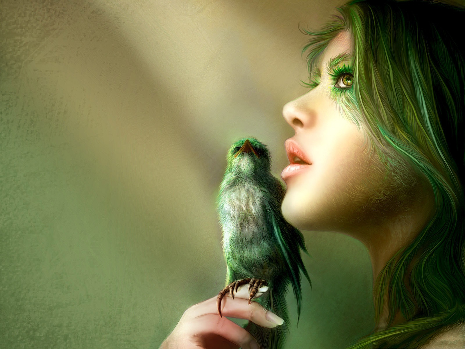 click to free download the wallpaper--Bird and Girl, Both in Green, They Match Each Other Well 1600X1200 free wallpaper download