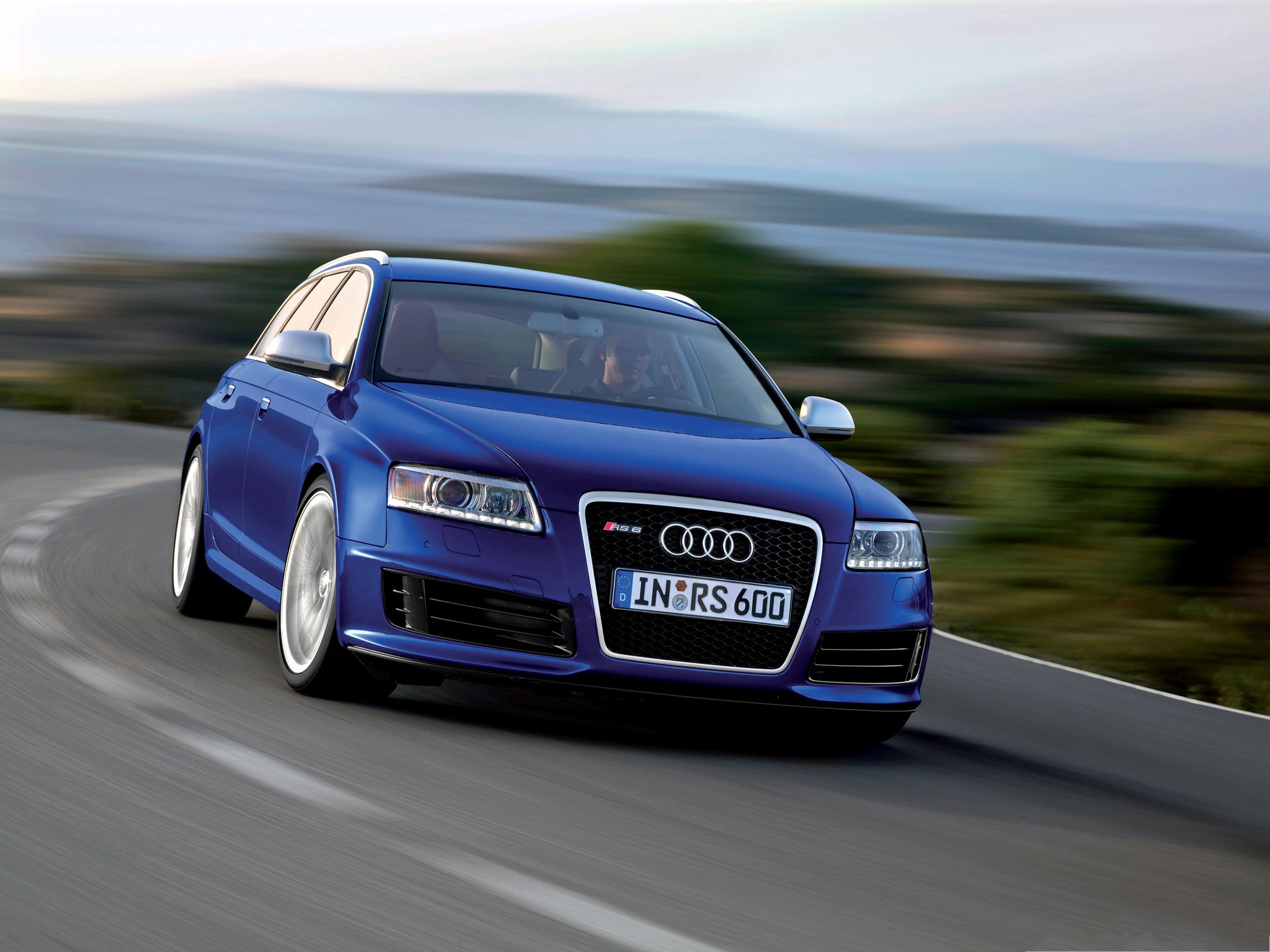 Car Pictures as Background, Blue Audi RS6 Avant Car in