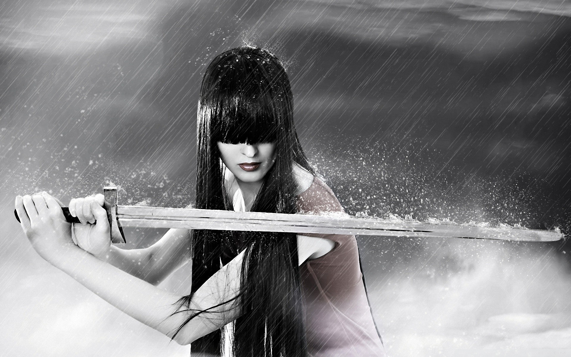 click to free download the wallpaper--Cool Girls Picture, Beautiful Girl in Sword, Long Black Hair Covering Her Eyes, Heavy Rain 1920X1200 free wallpaper download