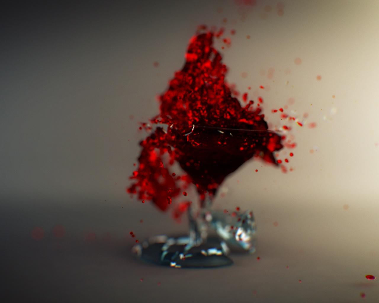 Creative Wallpaper, Broken Glass, Red Wine Splash ...