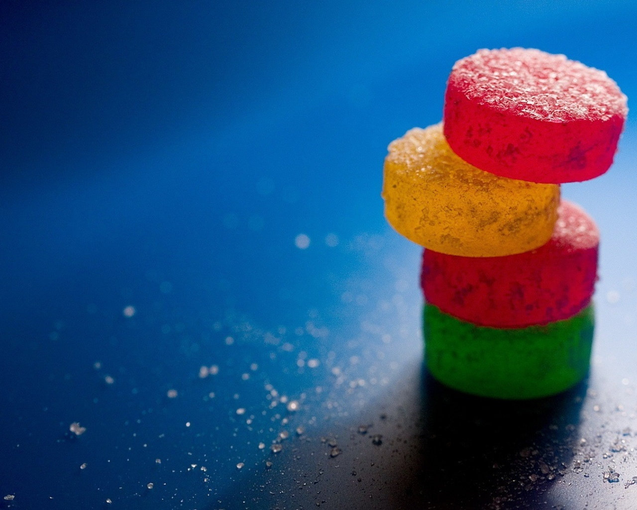 Creative wallpaper colourful candies on blue background - Wallpaper picture ...