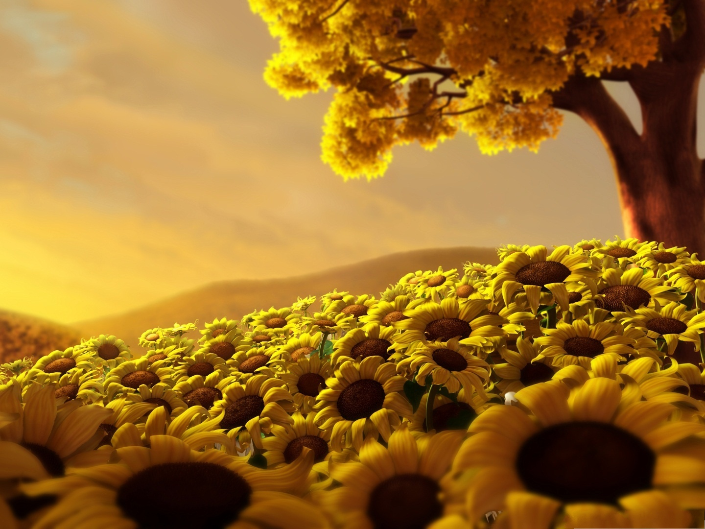 click to free download the wallpaper--Flowers in 3D, Blooming Sunflowers Under Yellow Tree, Combine Each Other Well 1440X1080 free wallpaper download