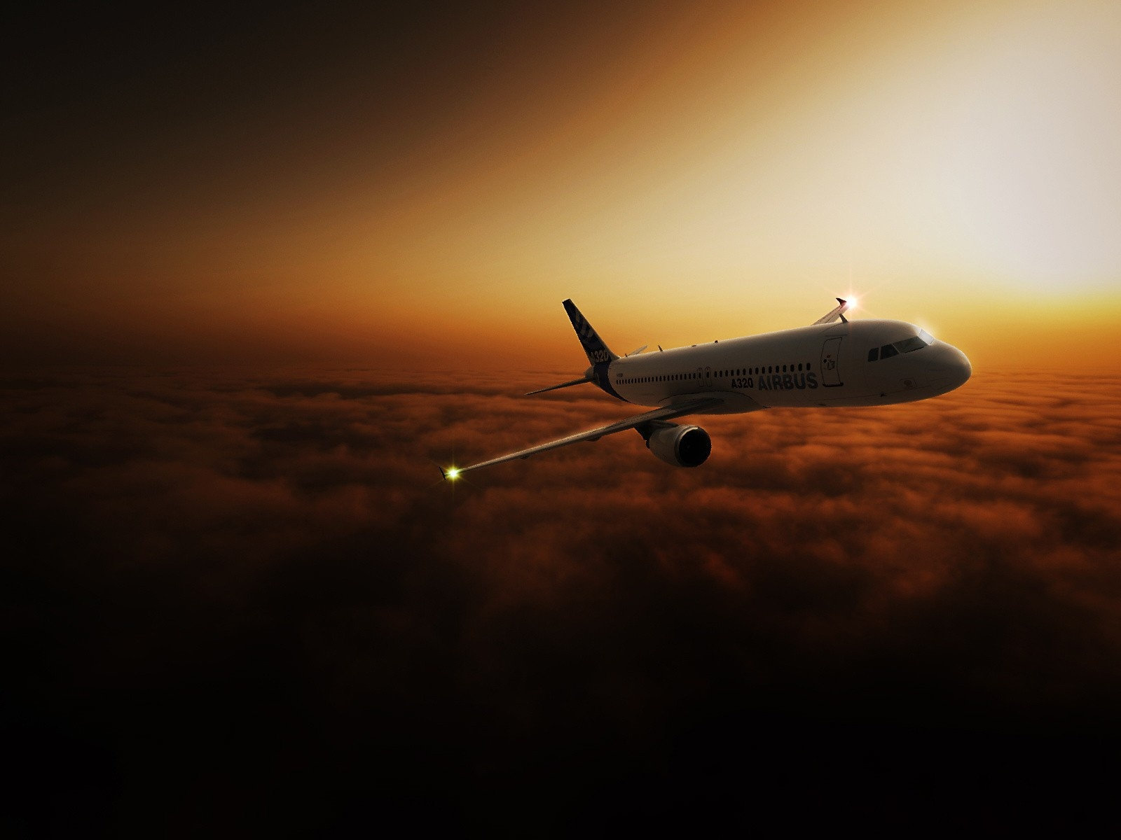 click to free download the wallpaper--Free Aeroplane Post, the Airliner Flying in the Sky, the Golden Sky, is Safe and Impressive 1600X1200 free wallpaper download