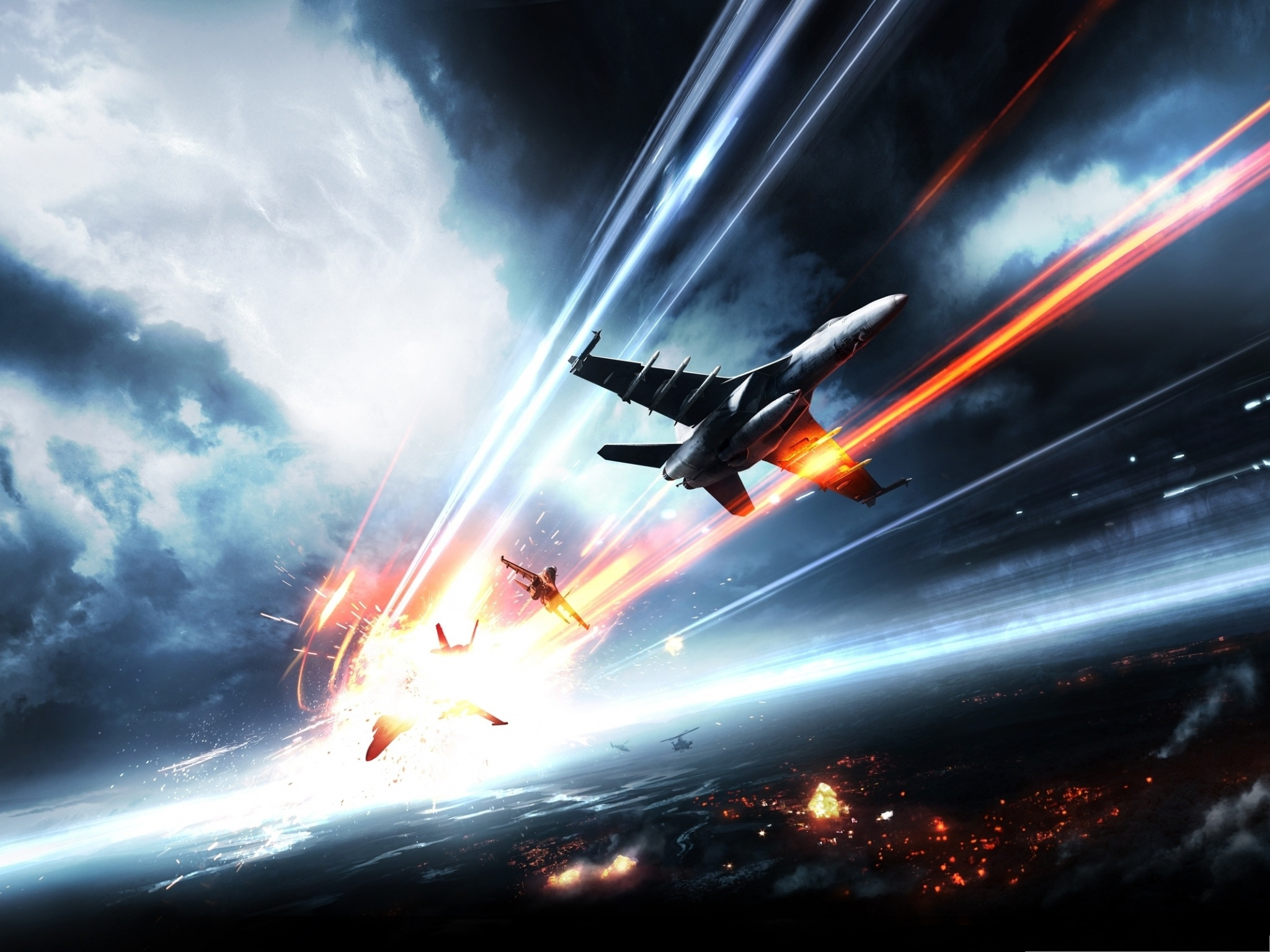 click to free download the wallpaper--Free Aircrafts Wallpaper, Super Planes in Battlefield, Nice Look 2048X1536 free wallpaper download