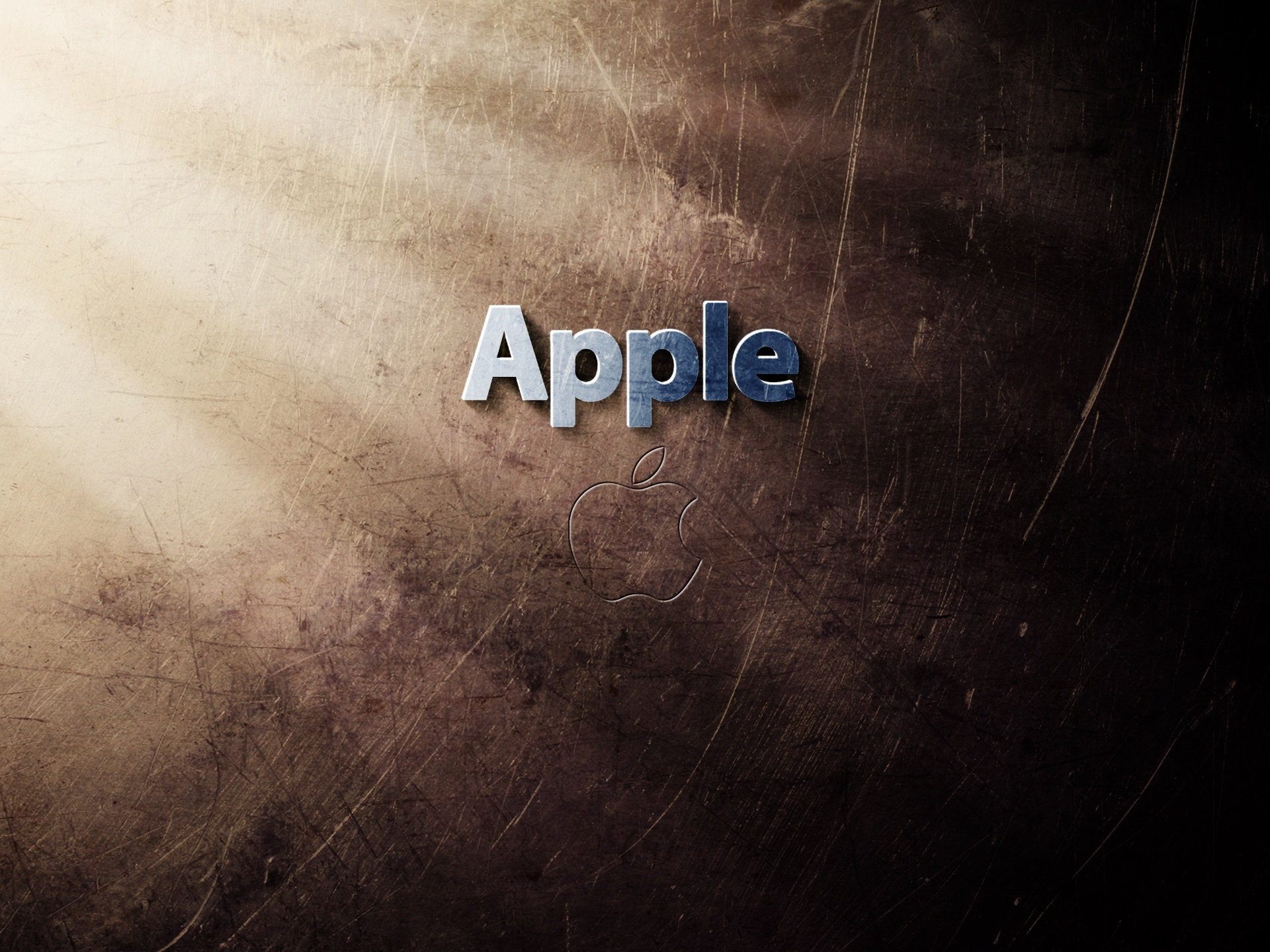 click to free download the wallpaper--Free Brandy Post, Apple Logo in Blue Letters, Crossed and Brown Background, Great in Look 1920X1440 free wallpaper download
