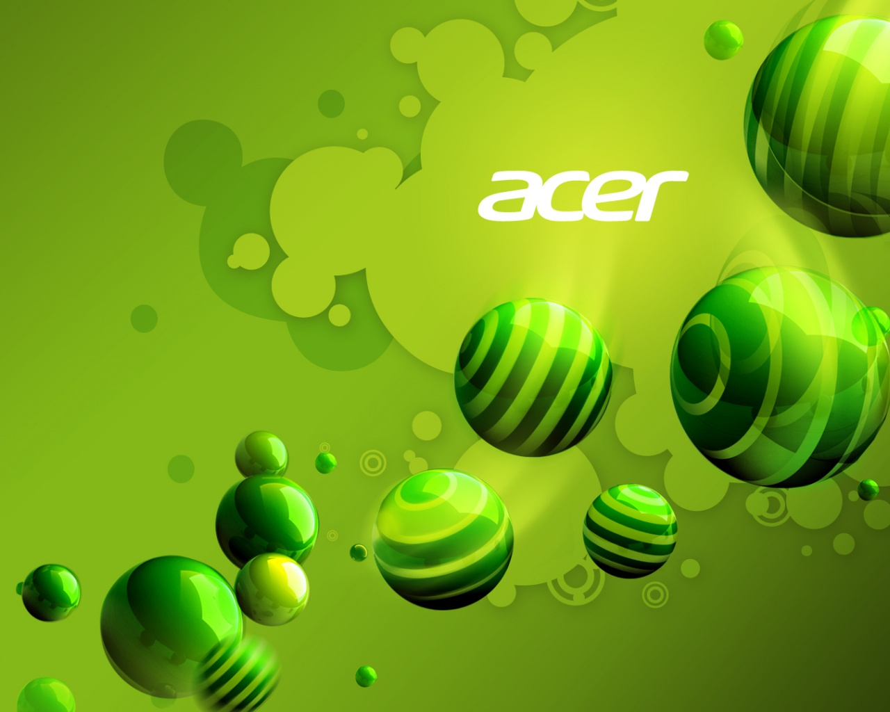 click to free download the wallpaper--Free Brandy Posts, Acer Aspire Series on Green Background, Green Balls Flowing Around 1280X1024 free wallpaper download