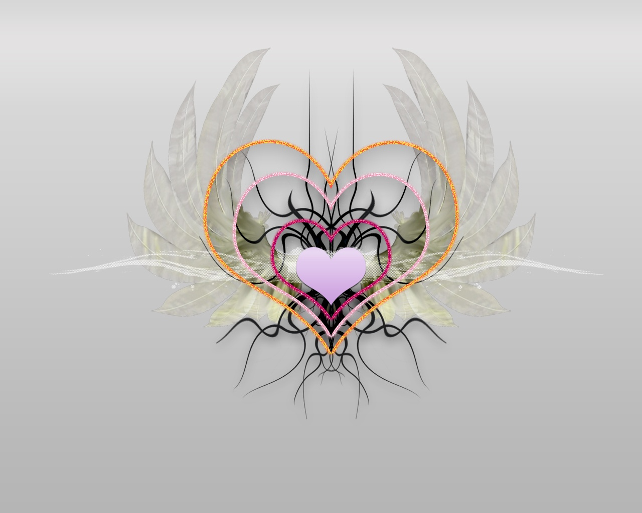 Free Cute Items Post, a Pile of Angel's Heart, Held Up by Lotus, Gray Background 1280X1024 free wallpaper download