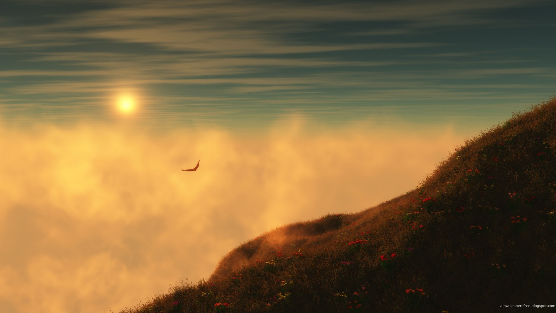click to free download the wallpaper--Free Download Natural Scenery Picture - A Flying Bird in the Misty Sky, Red Flowers on Hillside, Looking Great 1920X1080 free wallpaper download