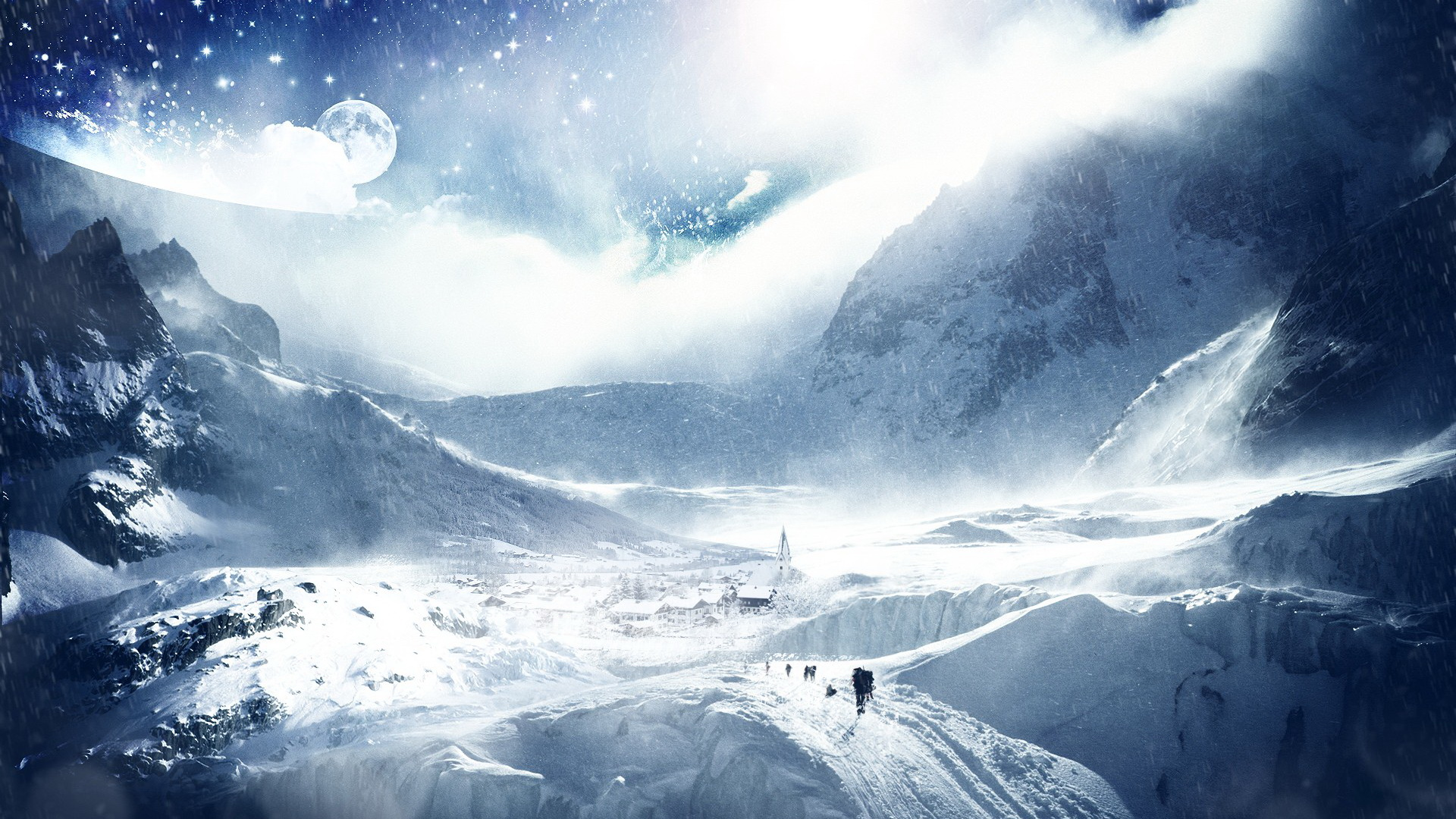 click to free download the wallpaper--Free Download Natural Scenery Picture - A Full Eye of Snow, Climbers in Bags, Have to Get to the Top 1920X1080 free wallpaper download