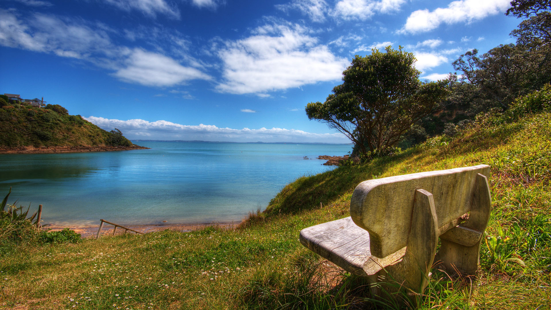 click to free download the wallpaper--Free Download Natural Scenery Picture - The Blue Sky and the Blue Sea, a Stone Chair by Its Side, Everything is Shadowed 1920X1080 free wallpaper download