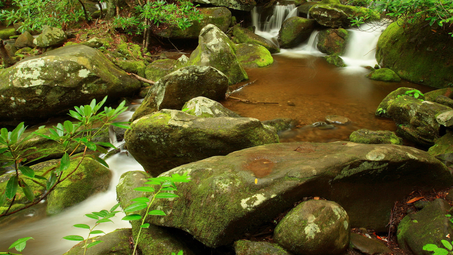 click to free download the wallpaper--Free Download Natural Scenery Picture - The Peaceful Waterfall, Stones Are Brushed Clean, Looking Good Together 1920X1080 free wallpaper download
