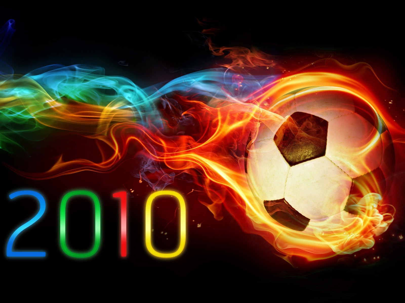 click to free download the wallpaper--Free Football Wallpaper - The Football is on Fire, It Generated Colorful Lights, Figures Also in Various Colors 1600X1200 free wallpaper download