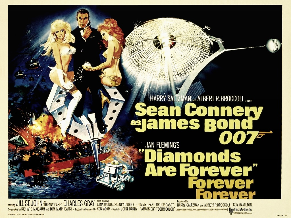 click to free download the wallpaper--Free Movies Post - 007 in Diamonds are Forever, James Bond is Never at Loss with Women 1024X768 free wallpaper download