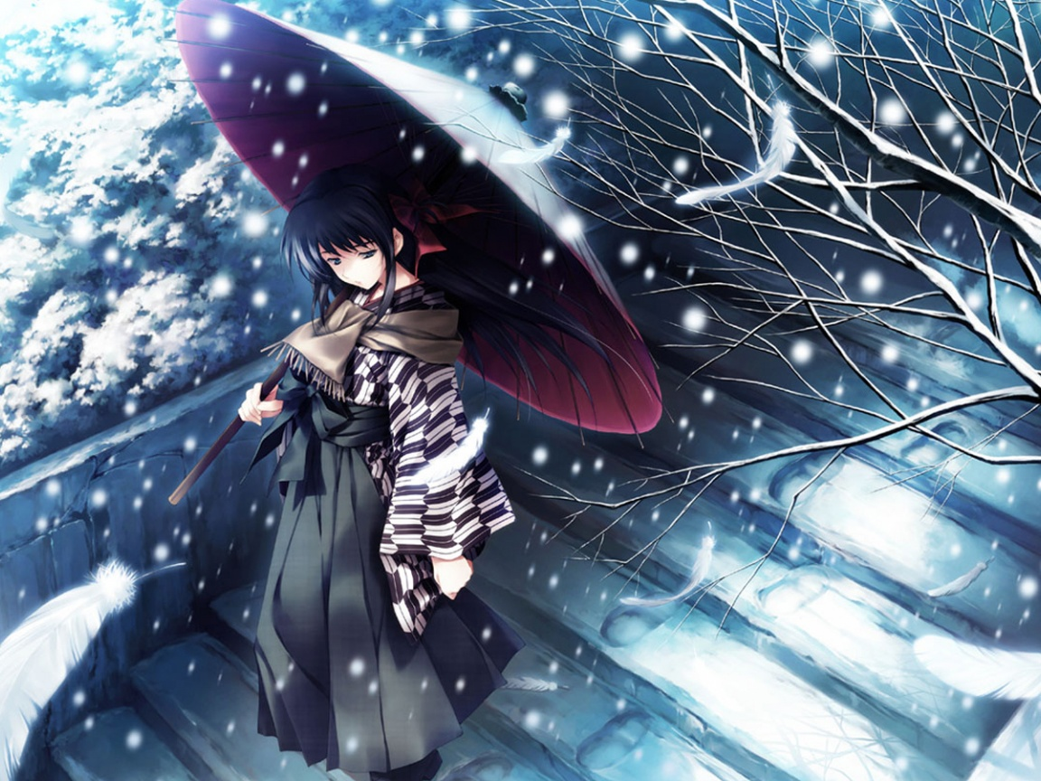 click to free download the wallpaper--Free Photos of Anime Girls, a Girl Walking in Snow, Unbrella is White with Snow, She is in No Hurry 1152X864 free wallpaper download