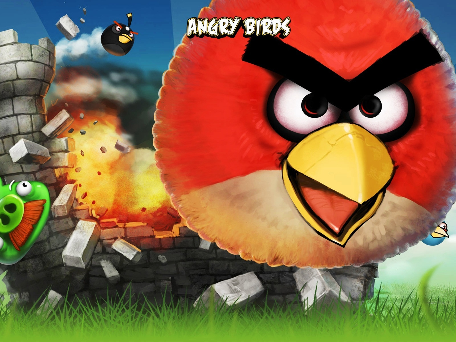 click to free download the wallpaper--Free Post of Games, Angry Birds Are in the Fly, Piggies, Stop Laughing and Be Cautious 1600X1200 free wallpaper download