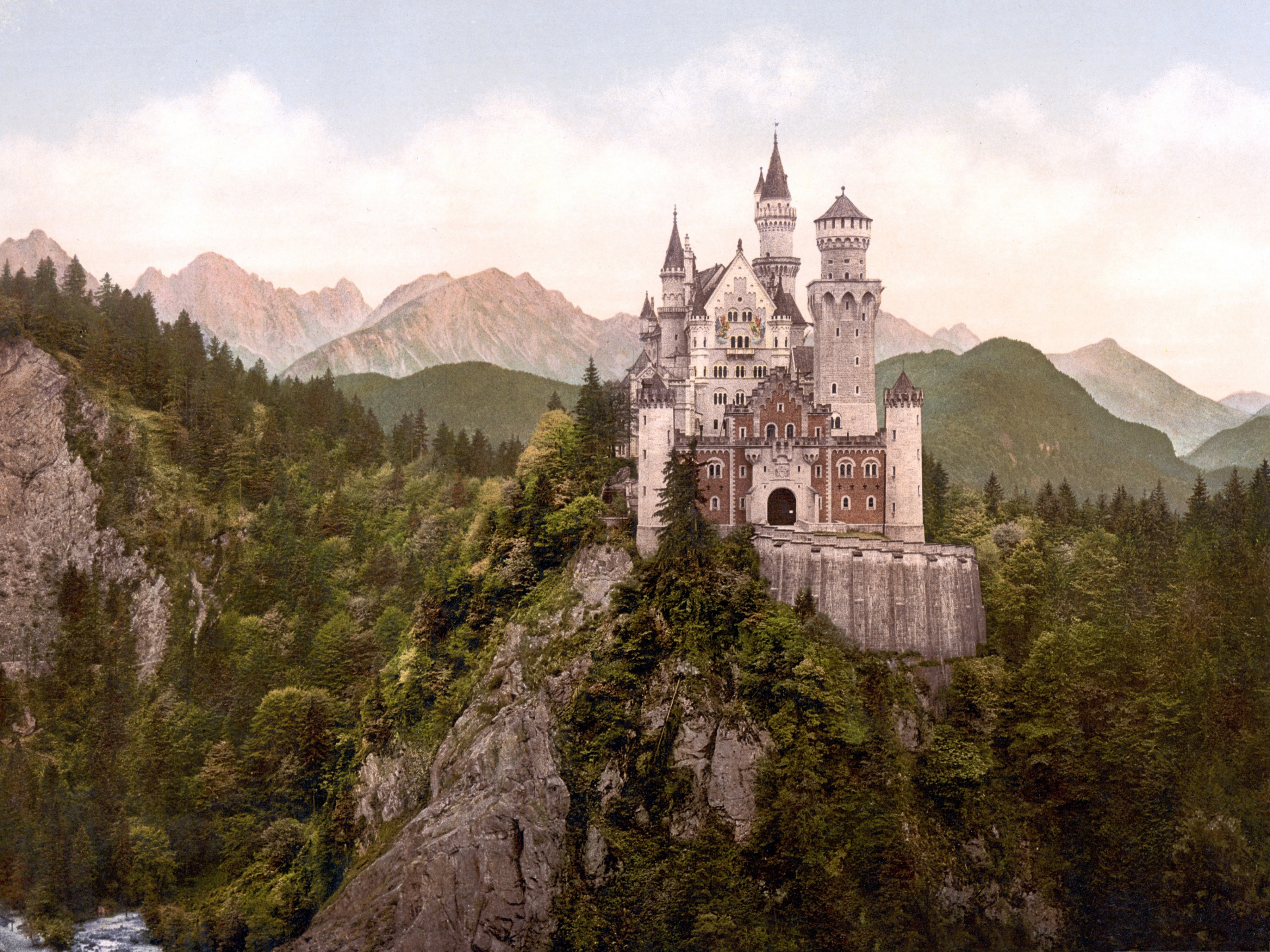 click to free download the wallpaper--Free Wallpaper Backgrounds, Neuschwanstein Castle, Tall in the Sky 3200X2400 free wallpaper download