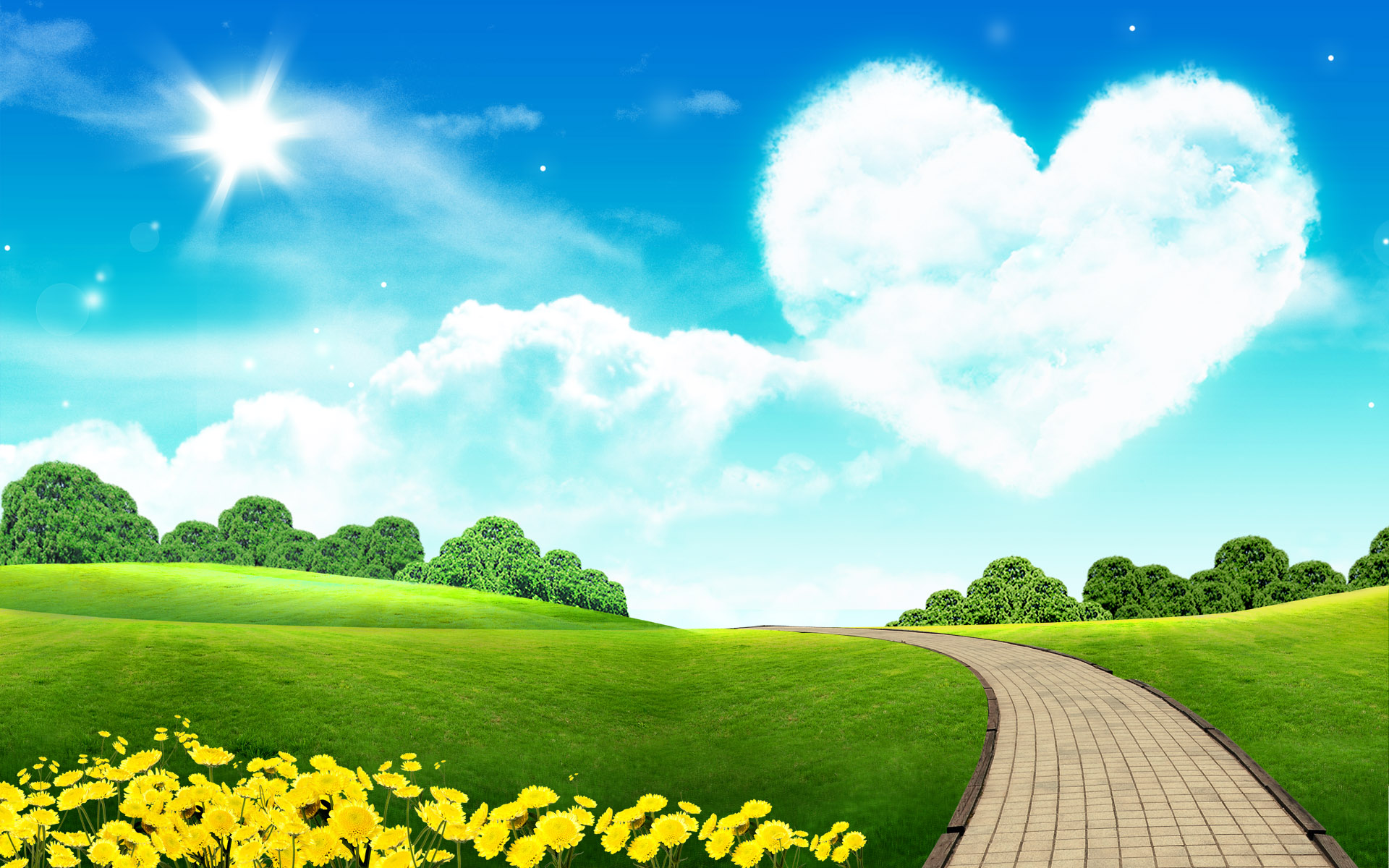 This Free Scenery Wallpaper Comes With A Lovely Sky The Decoration Of Heart Shape Cloud Beautiful Flowers And Green Trees Grass