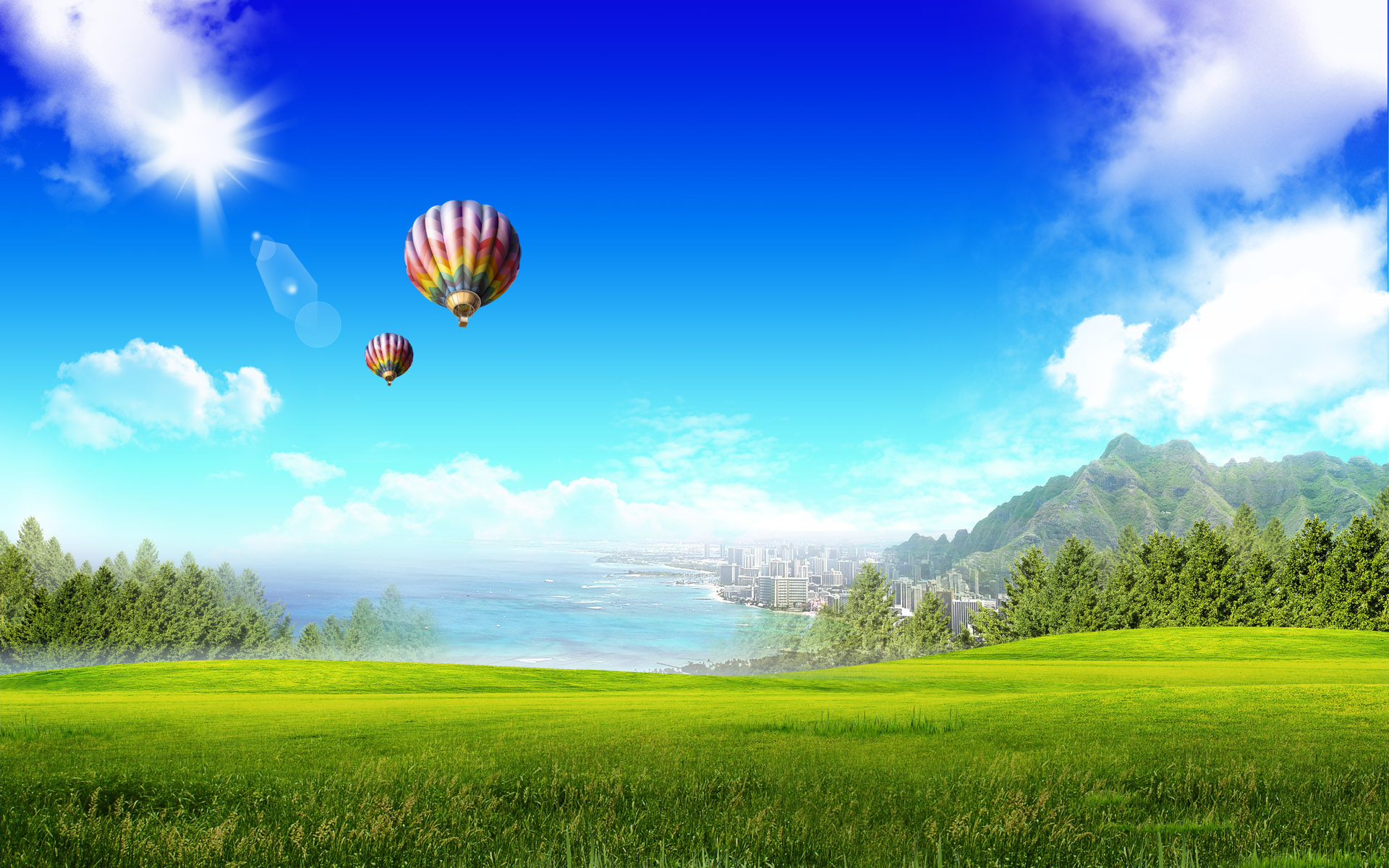 Free Scenery Wallpaper – Includes the City at Beach Fantasy, An