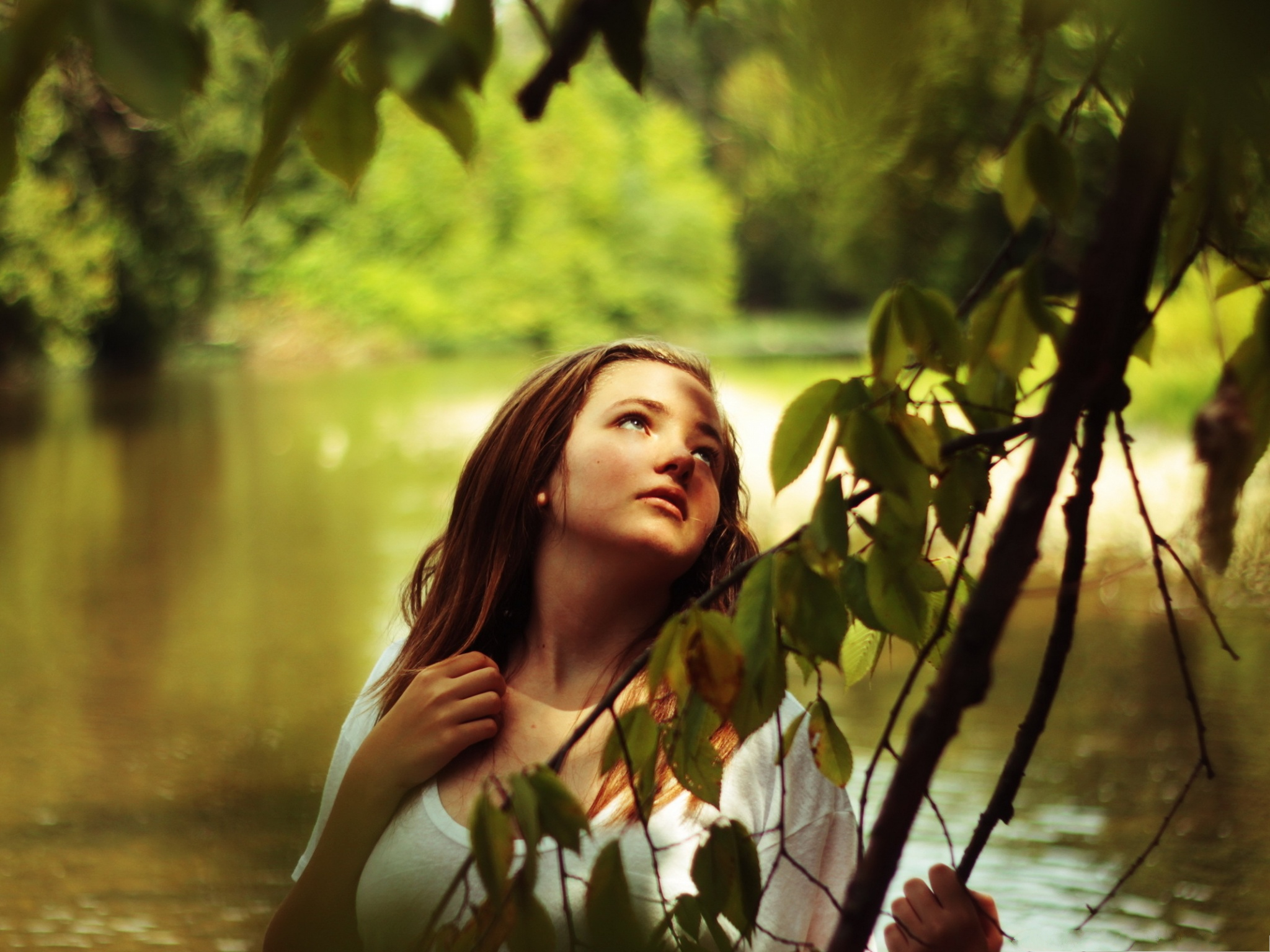 girl in nature young and beautiful girl amazed in nature
